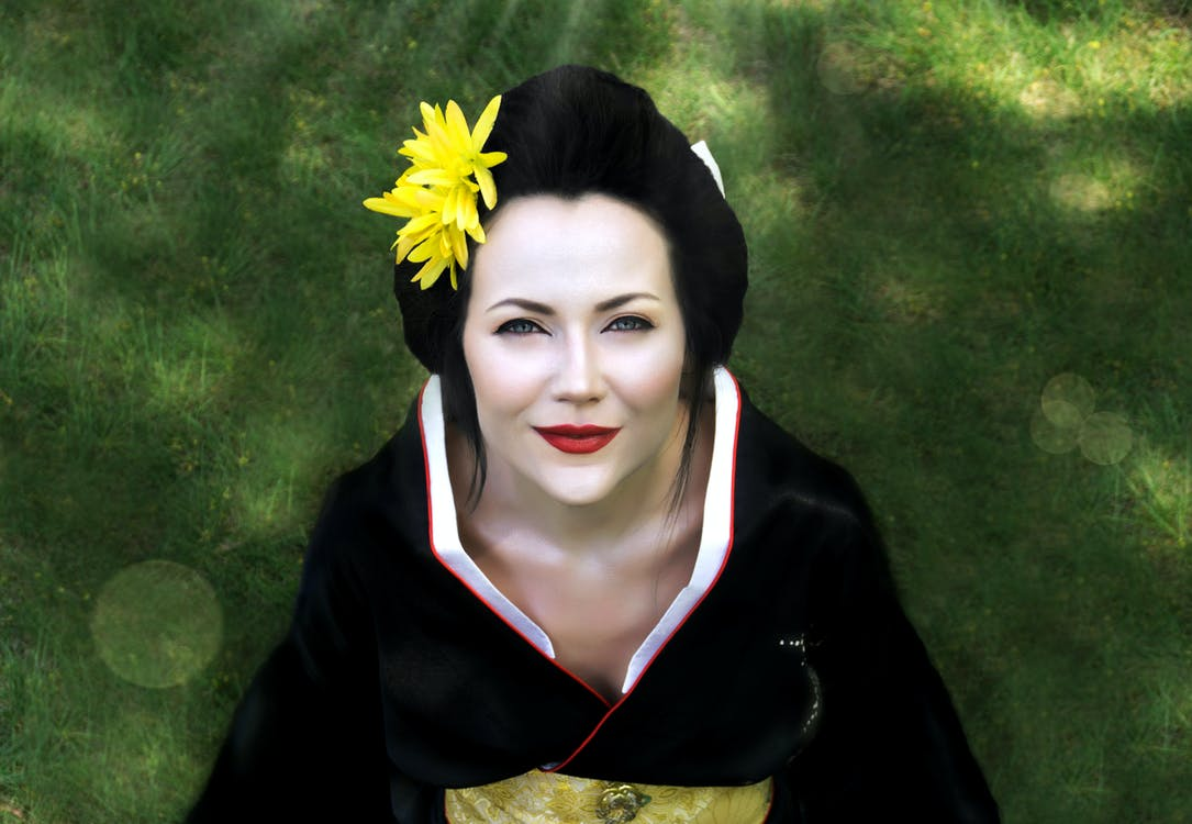 flowers, geisha, grass