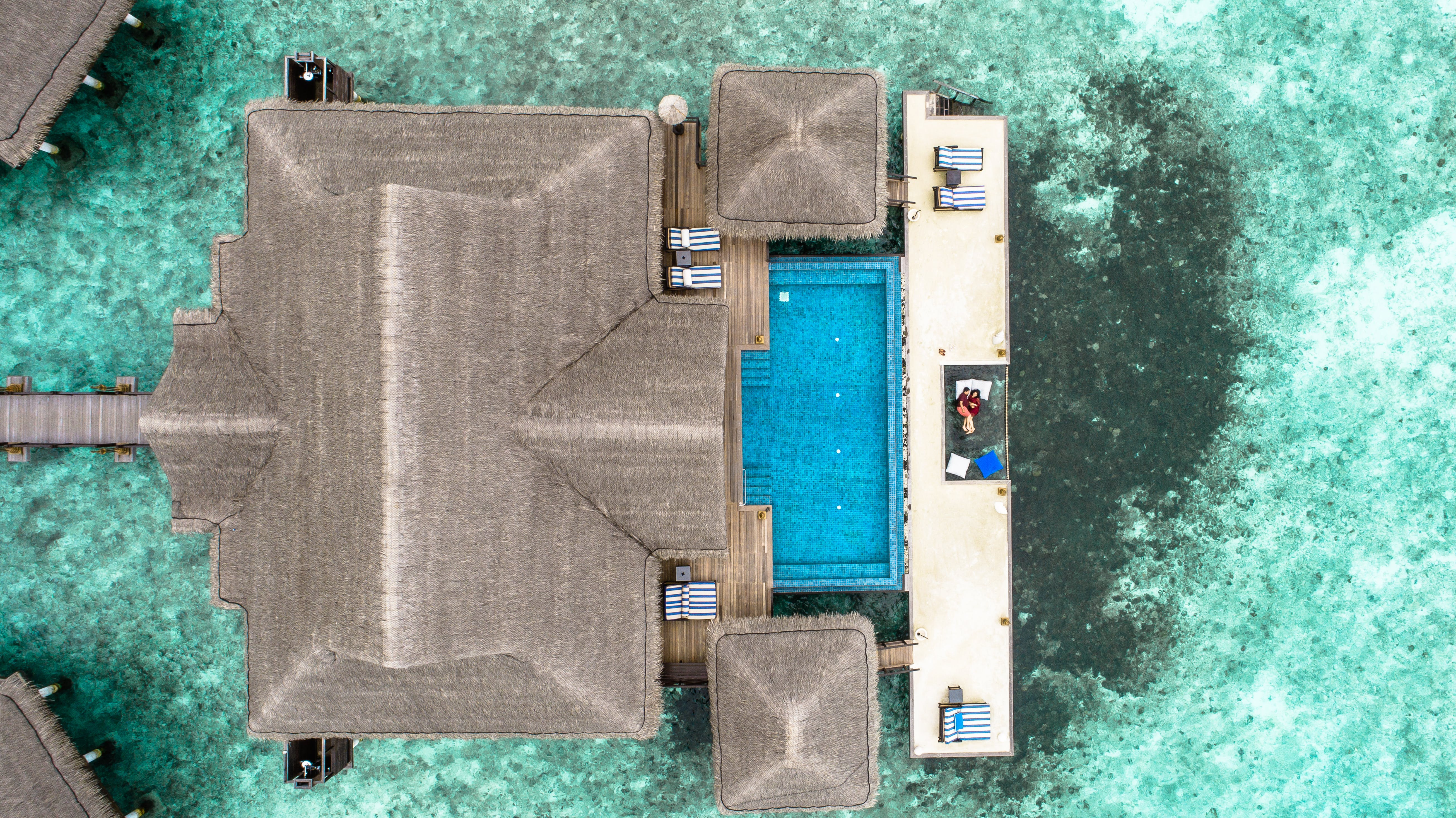 Aerial Photo of Brown Concrete House
