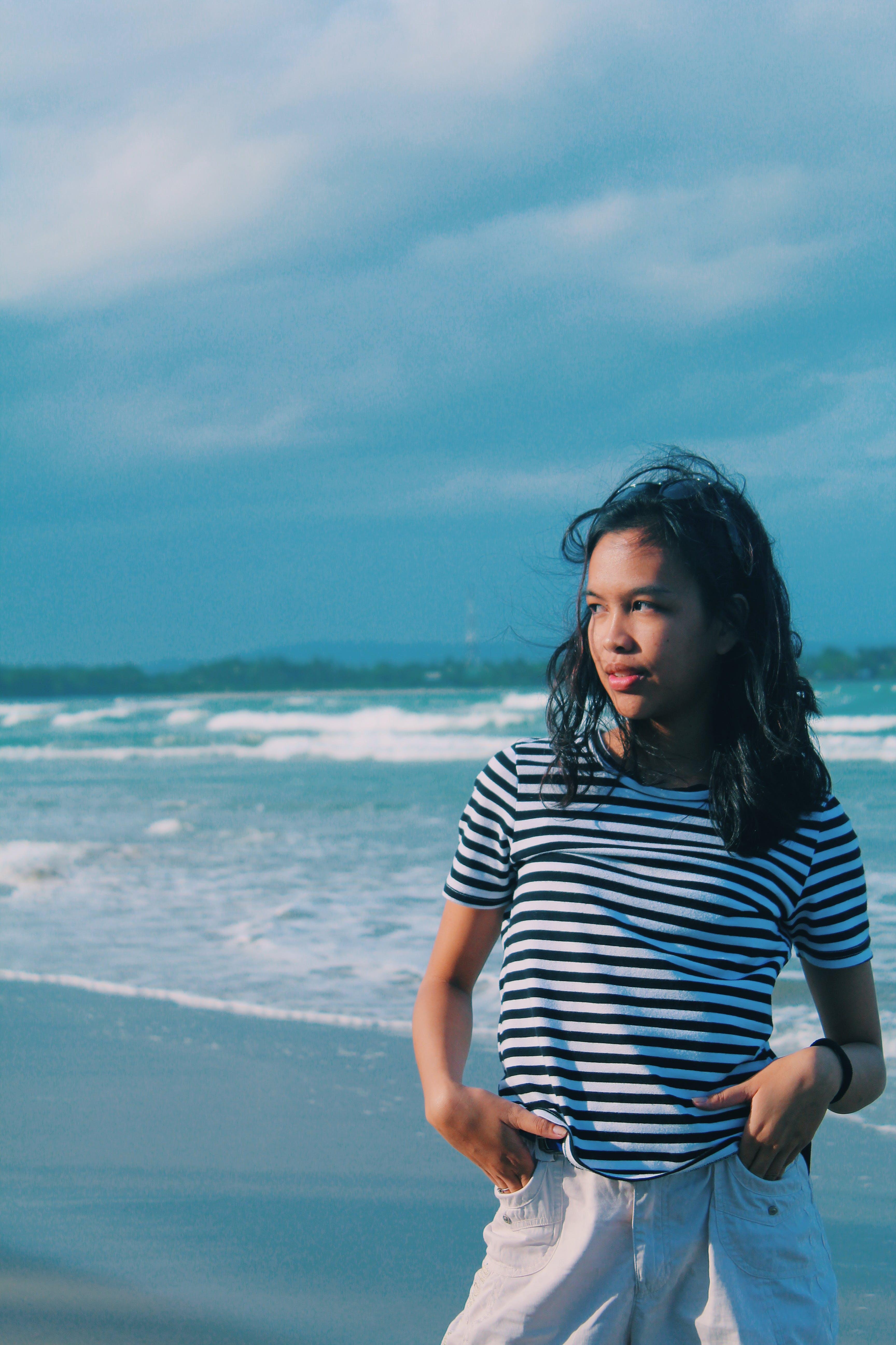 lány, nő, óceán