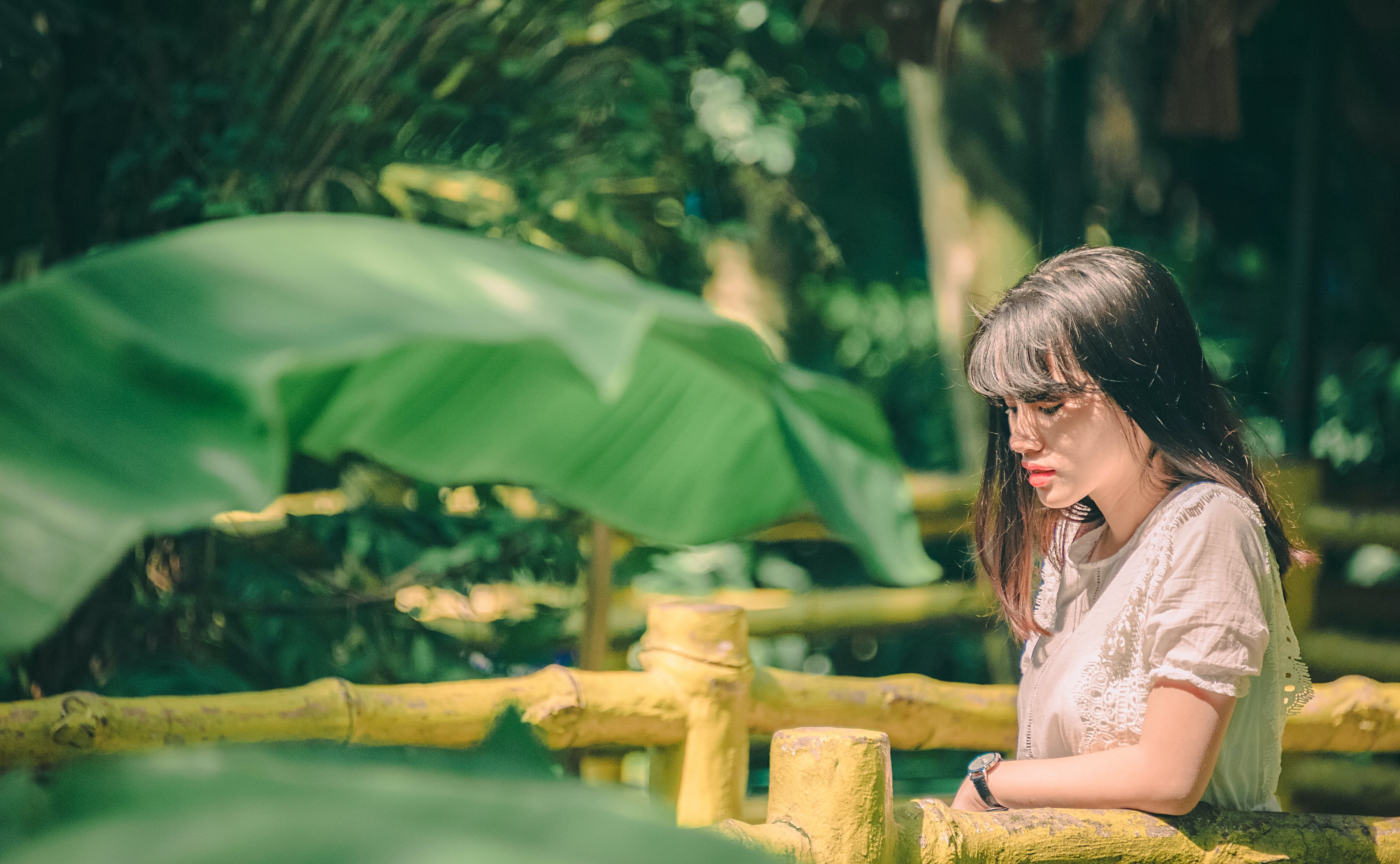 Foto stok gratis belum tua, cewek, daun pisang, ekspresi muka