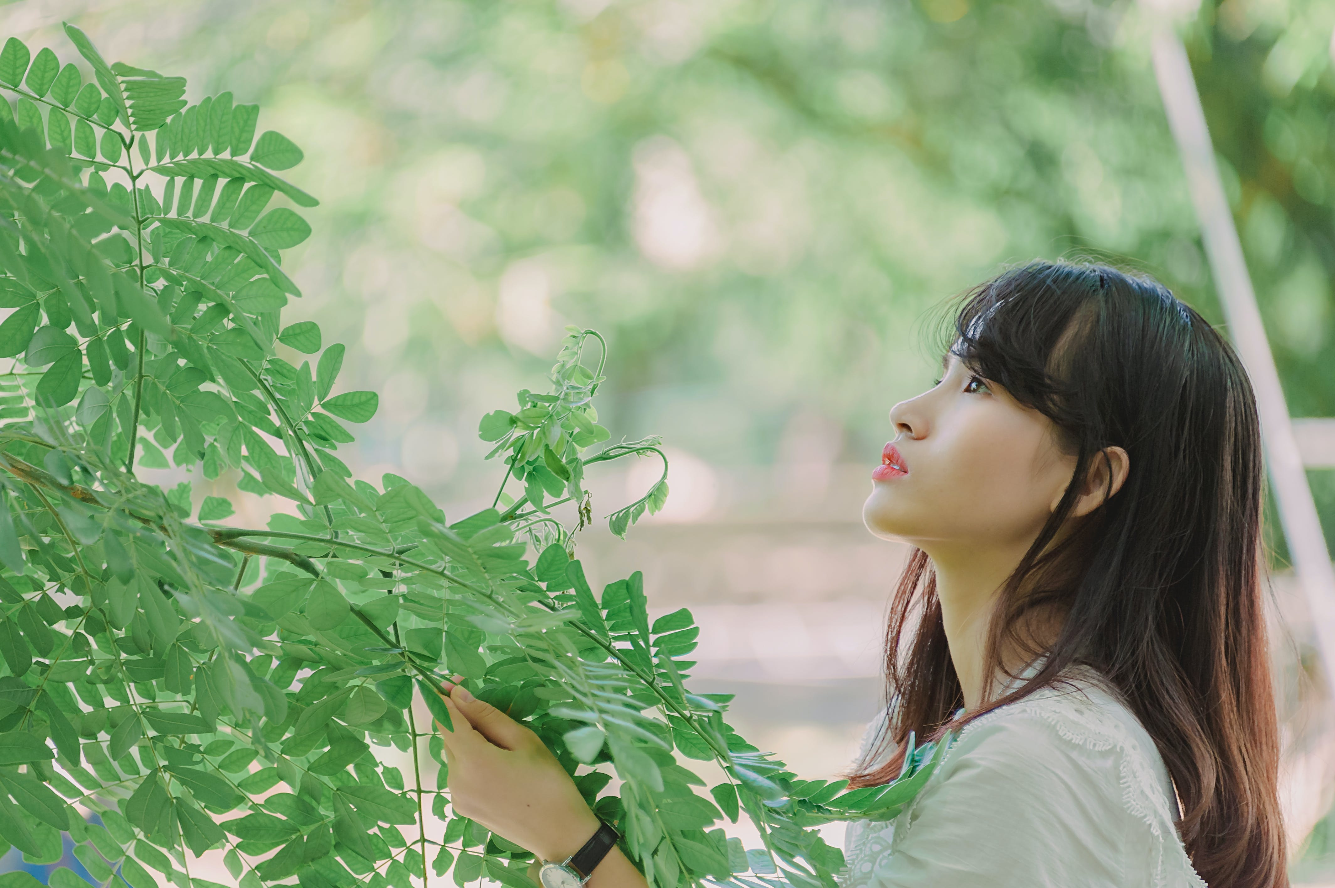 Photography of Woman Holding Leaves