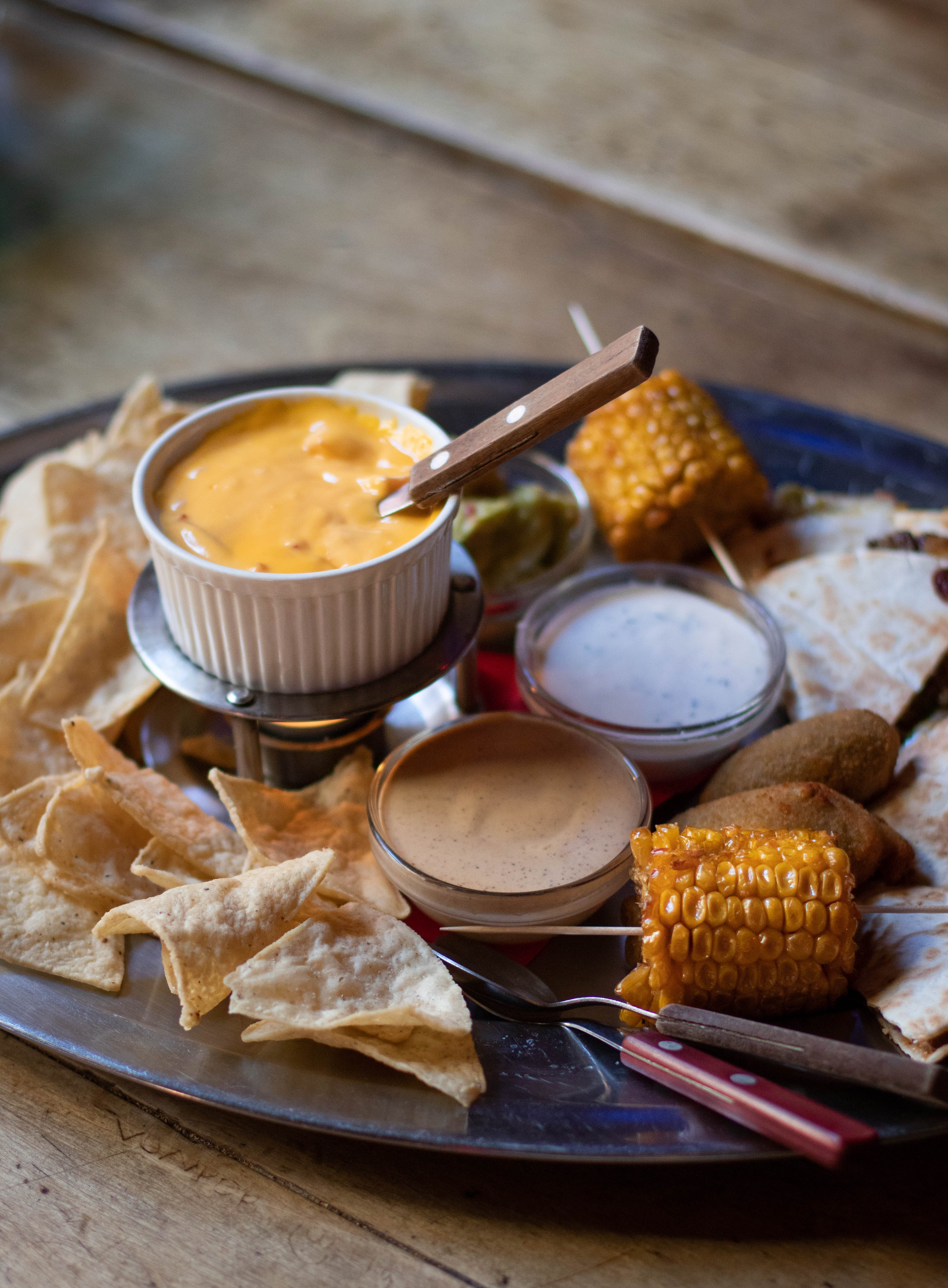Corn Cub And Sauces On Plate