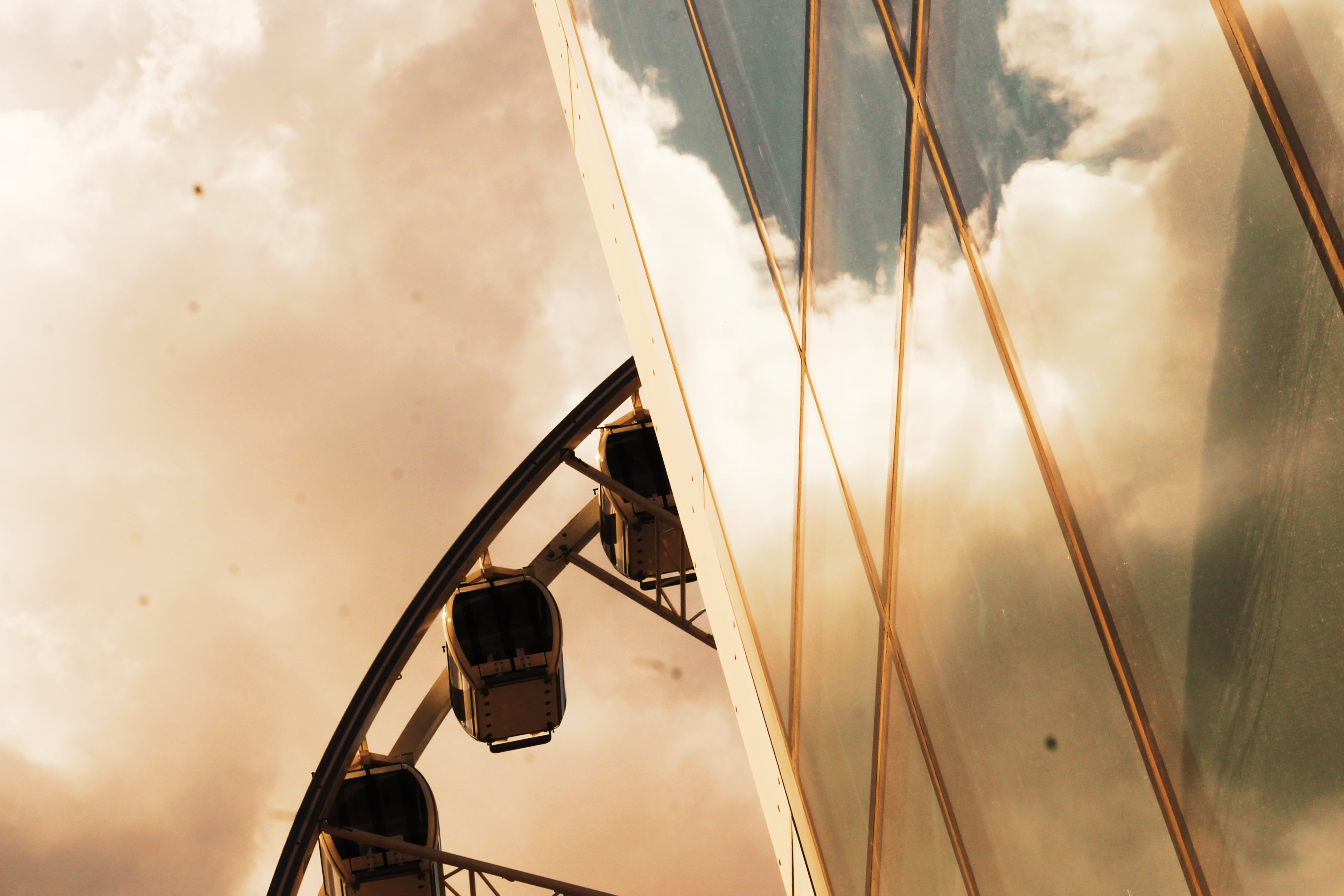 architecture, ferris wheel, reflection