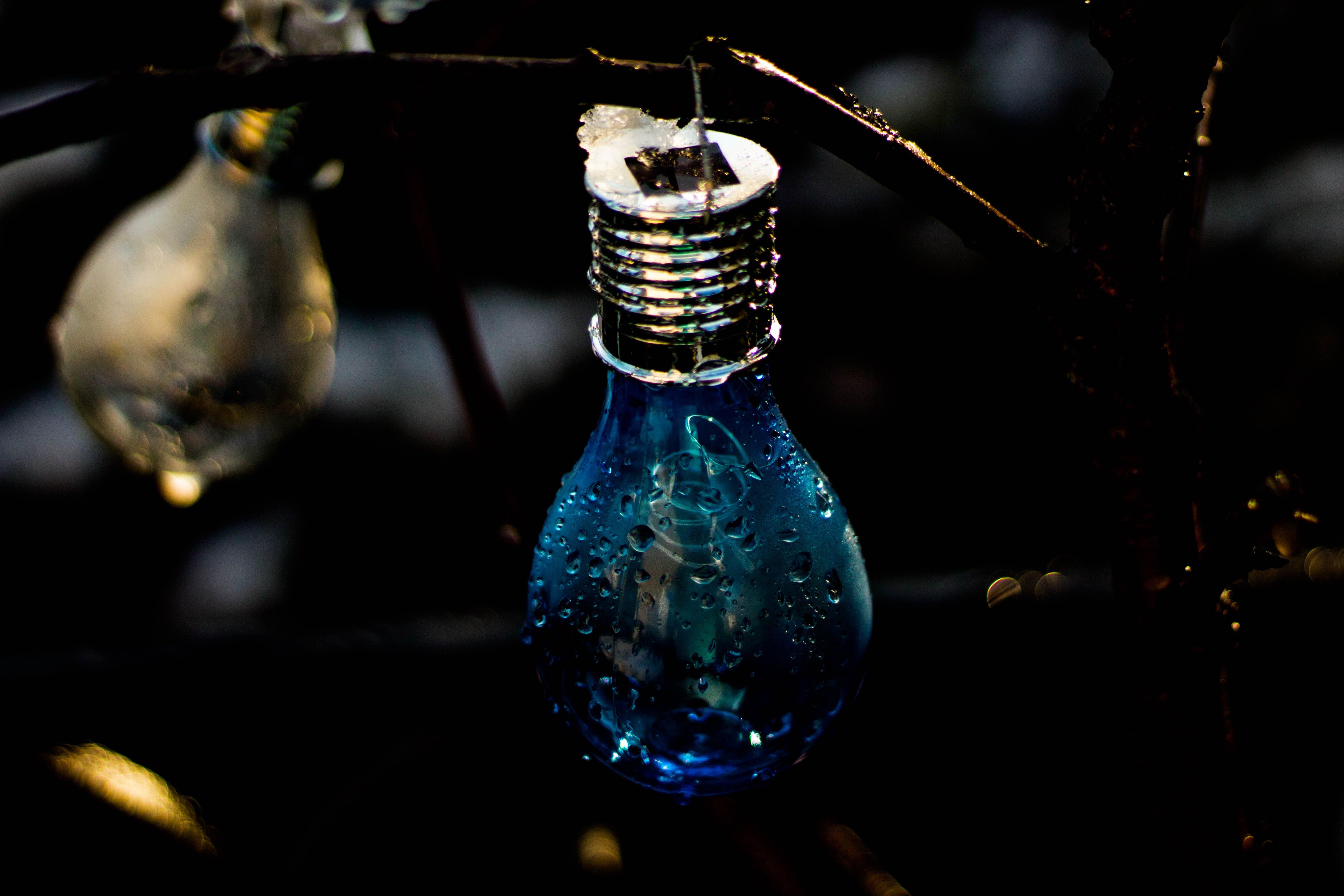 Closeup Photo of Blue Light Bulb