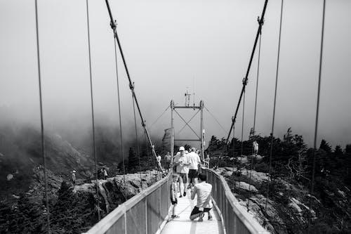 人, 橋, 霧 的 免費圖庫相片