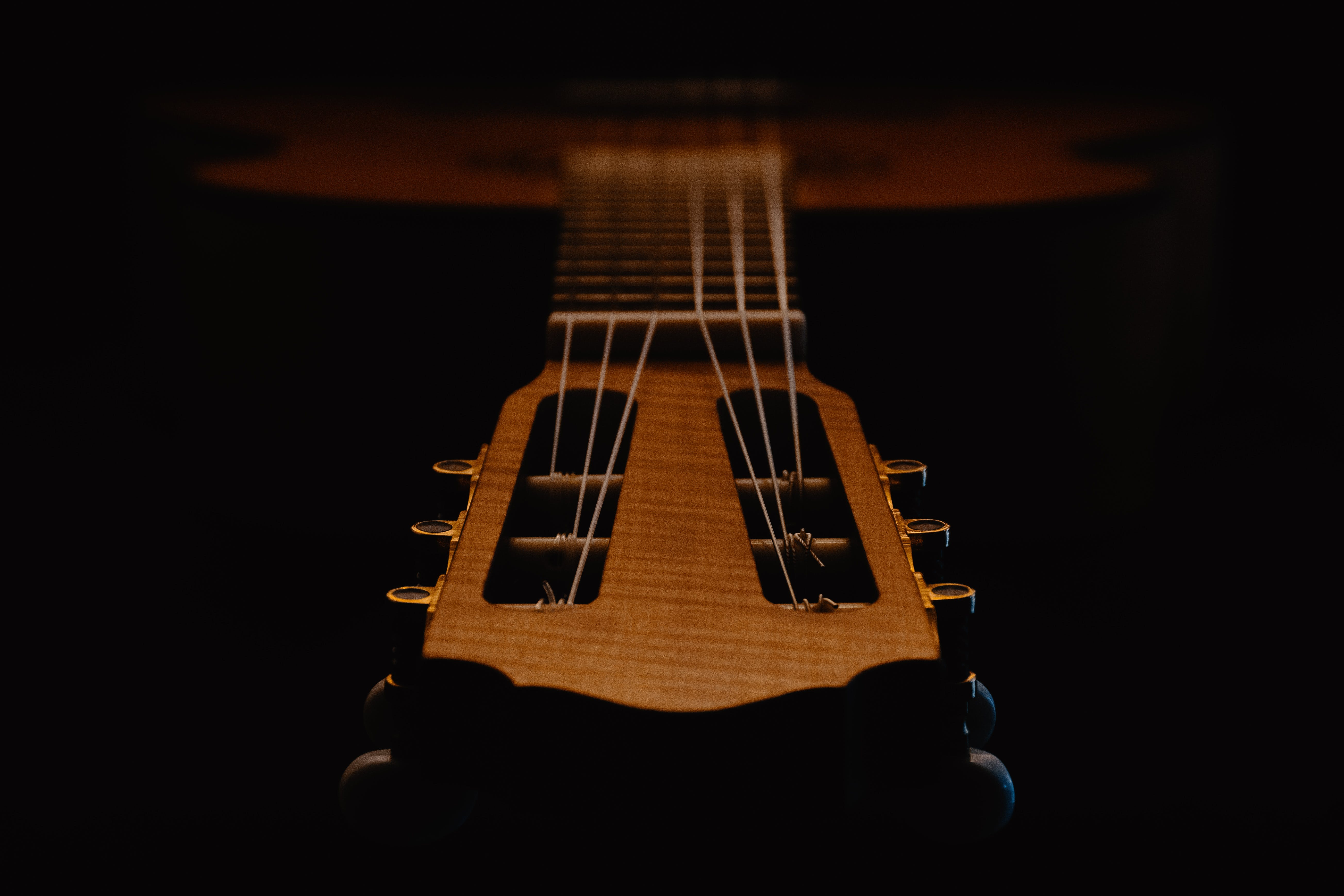 Selective Focus Photograph of Guitar Headstock