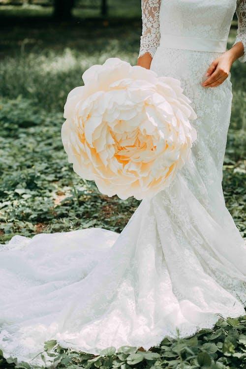 blomst, brudekjole, bruke