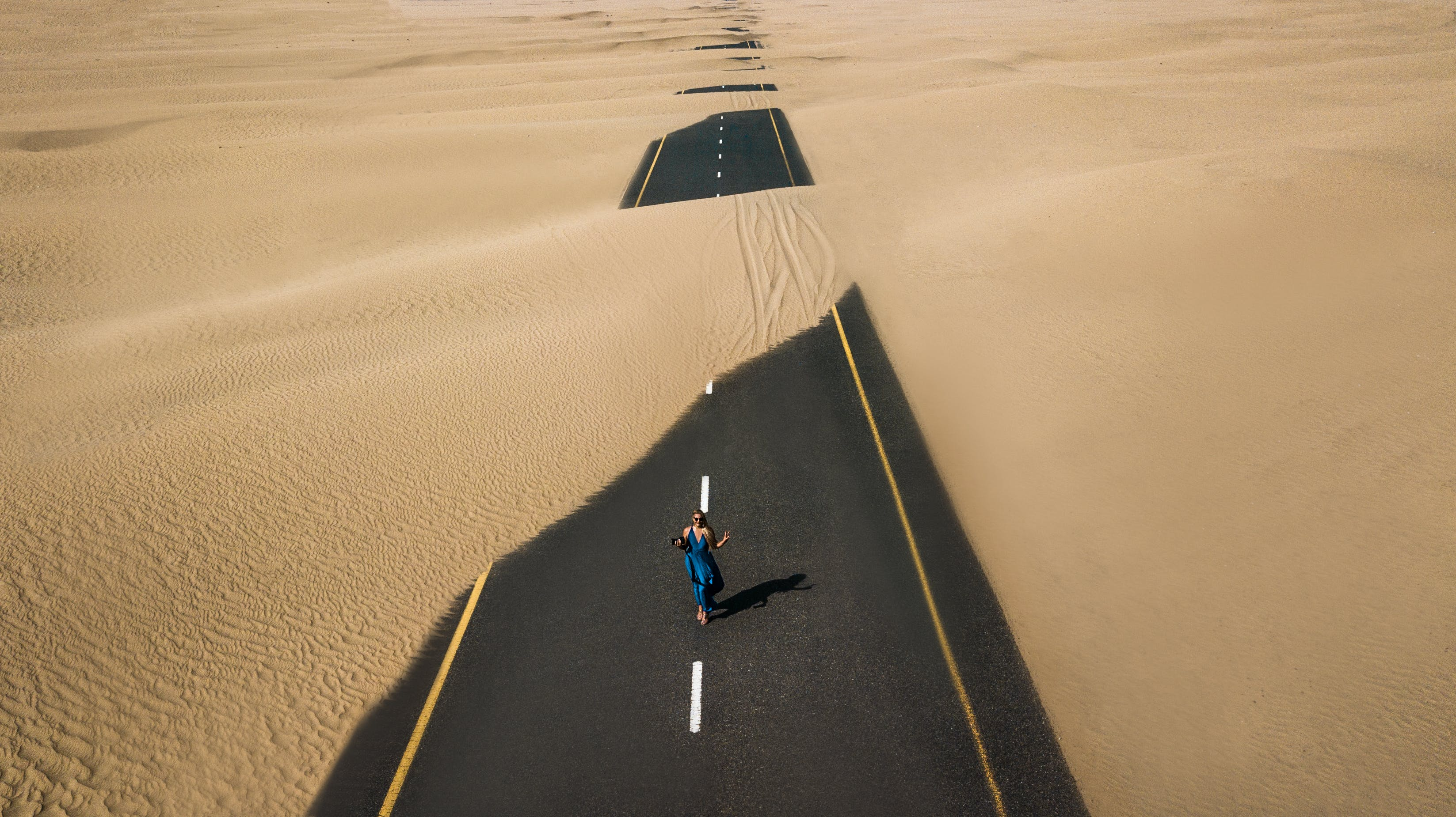 Bird's Eye View Photography of Road in the Middle of Desert