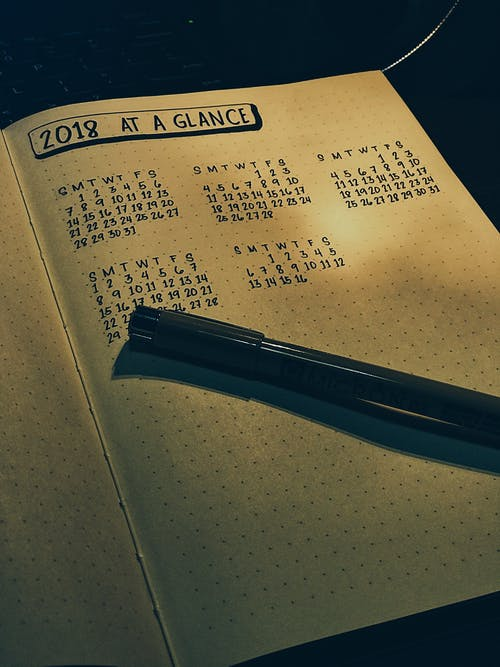 Free stock photo of bullet journal, calendar, journal, notebook