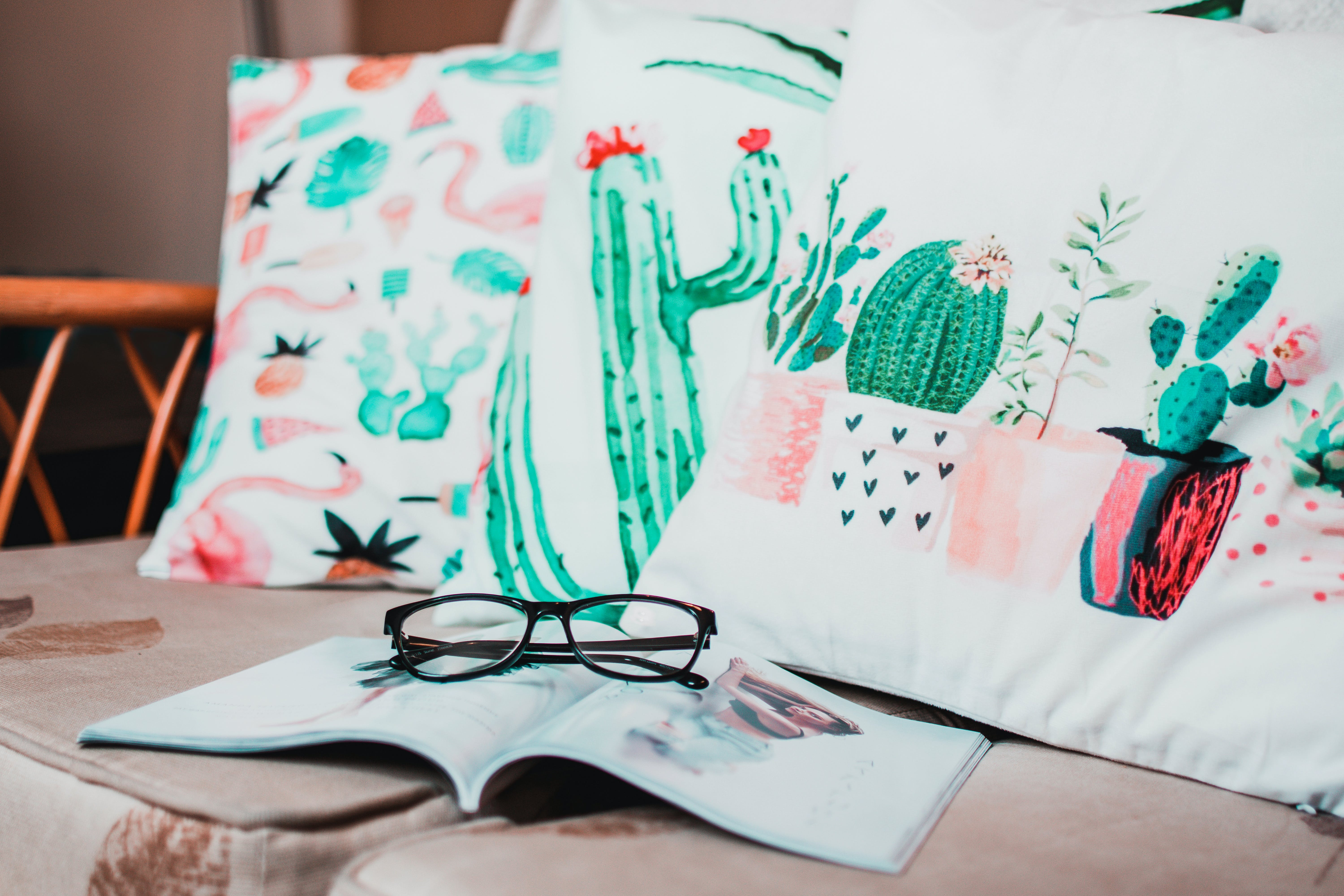 Black Framed Eyeglasses Placed on Opened Book Near Cacti-print Pillows