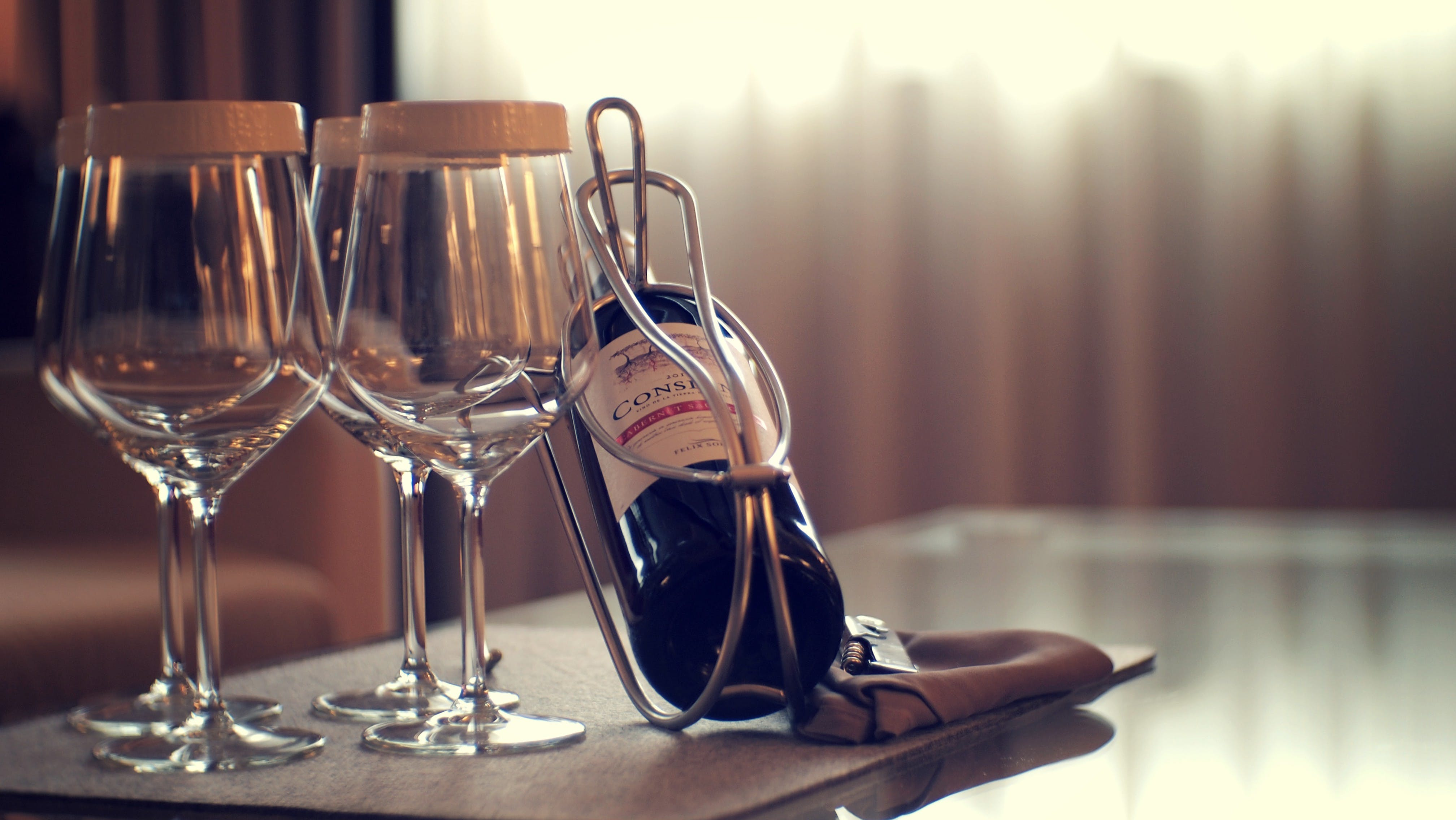 Free stock photo of bottle, glass, glass of wine, hotel room