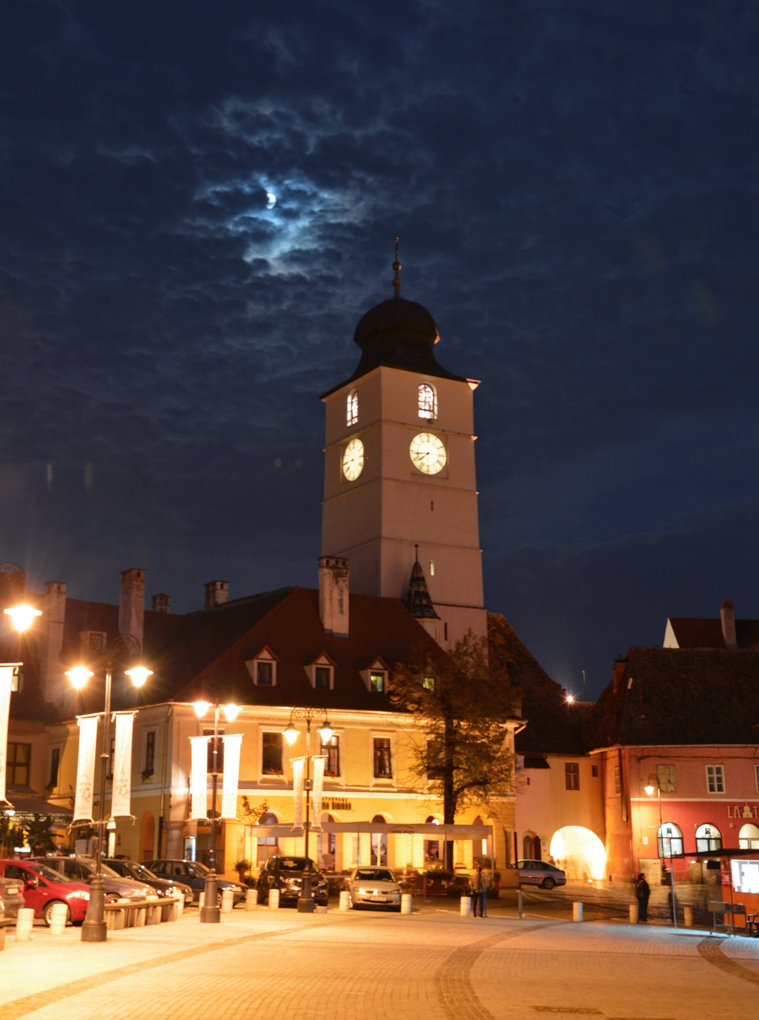 Free stock photo of ciry, clock tower, clouds, lights
