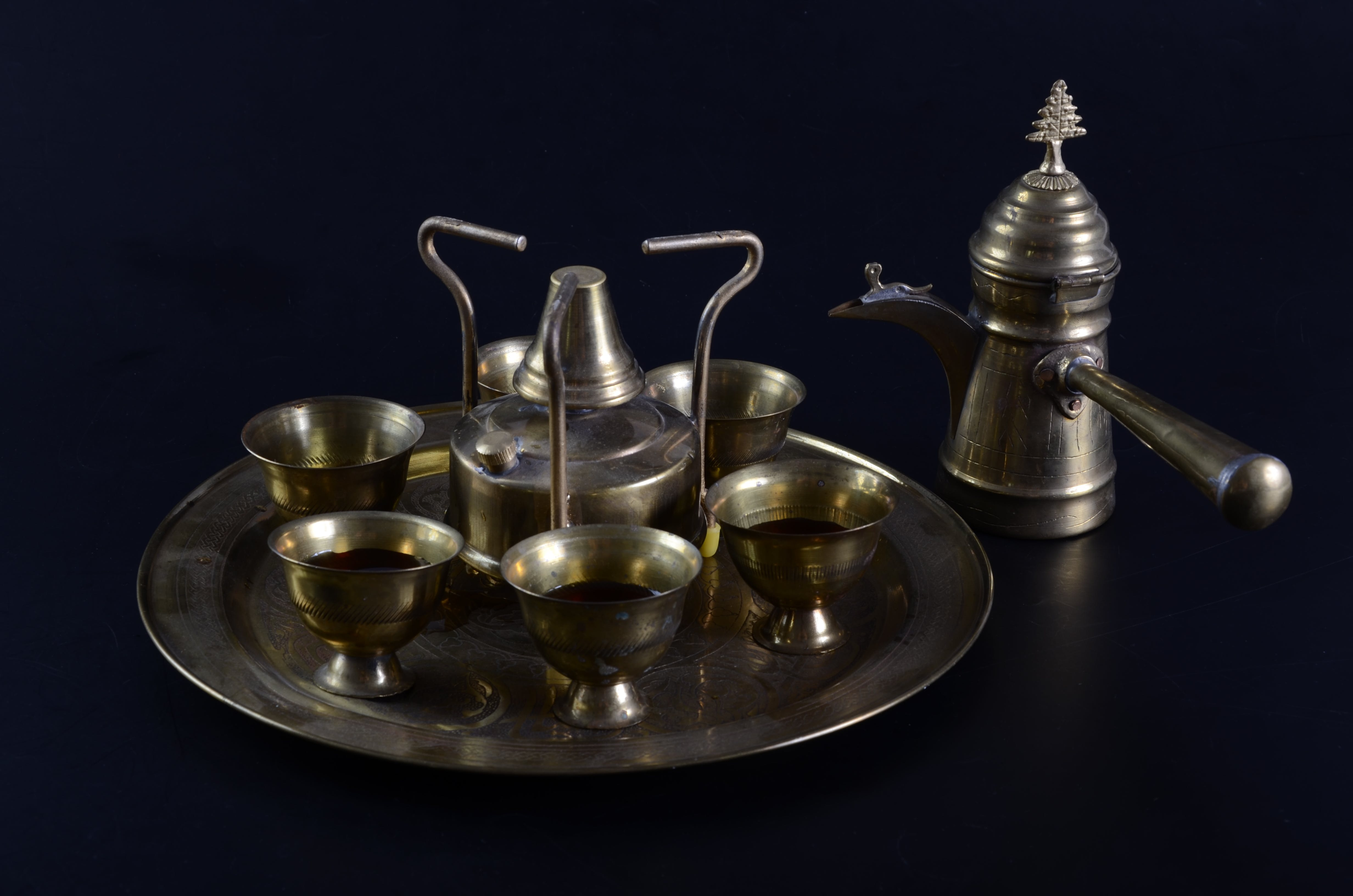 Free stock photo of cups, old, tray, teapot