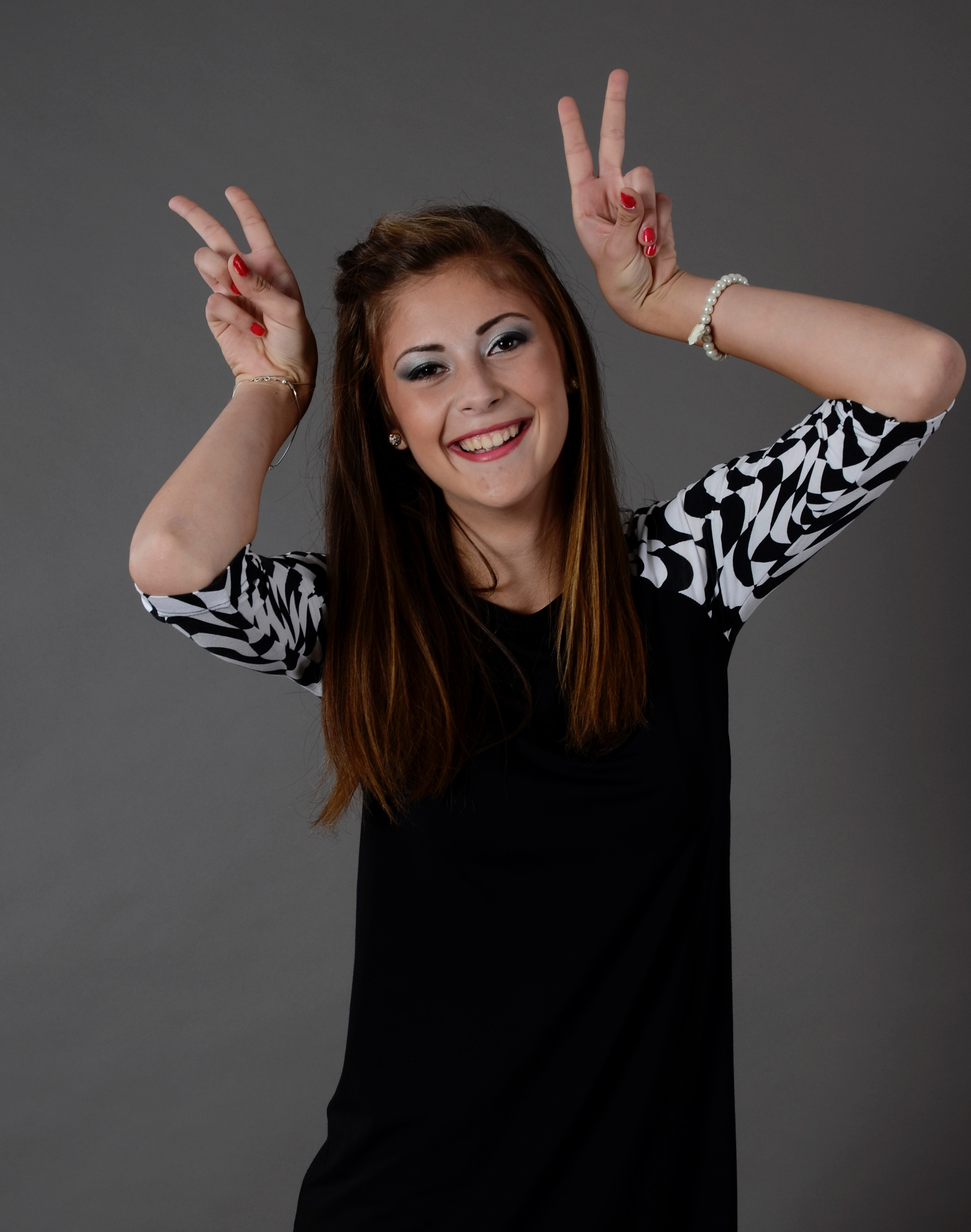 Woman smiling and doing peace signs · free stock photo.