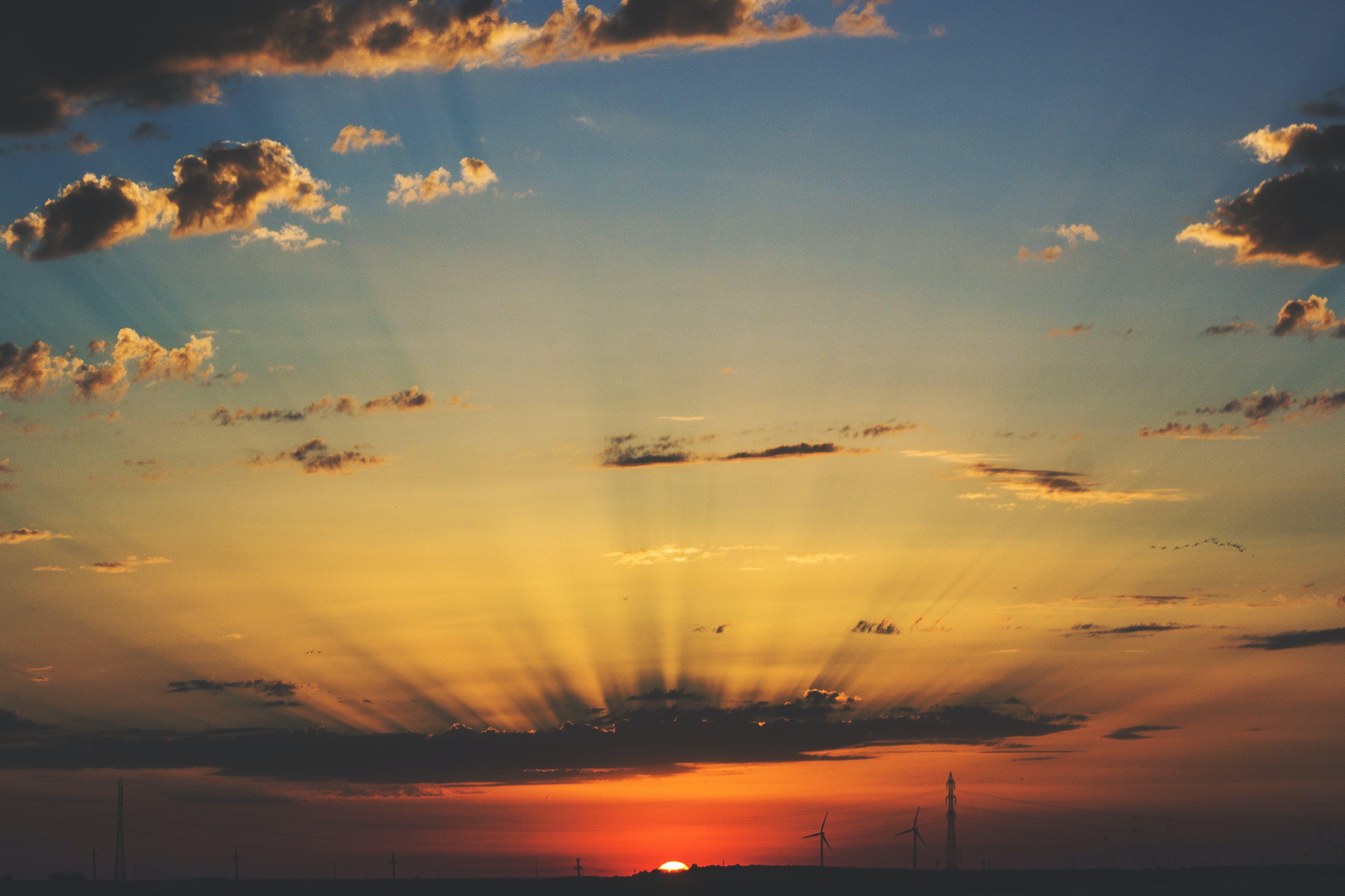 dämmerung, himmel, sonnenlicht