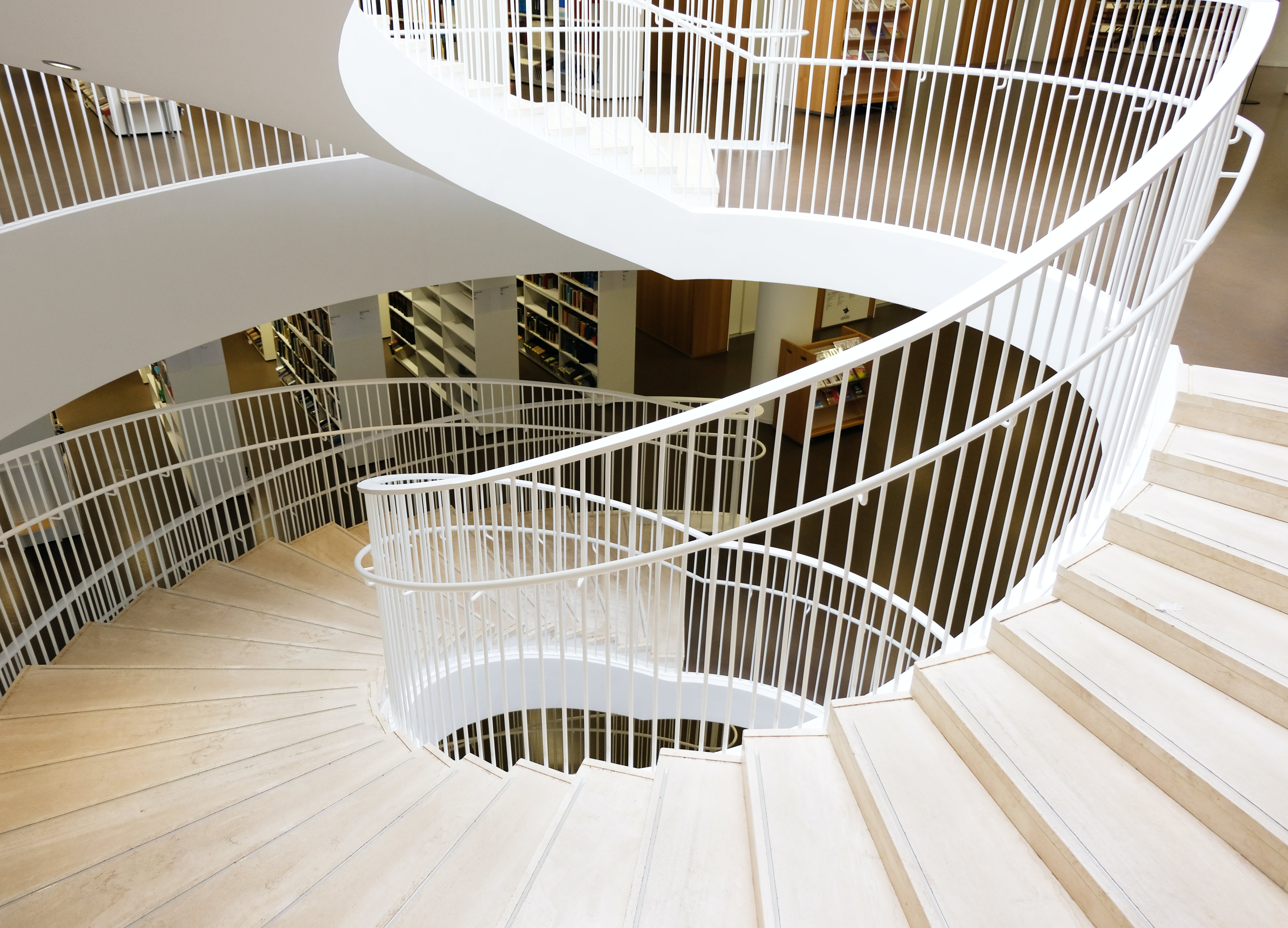 Free stock photo of Helsinki, library, perspective, spiral staircase