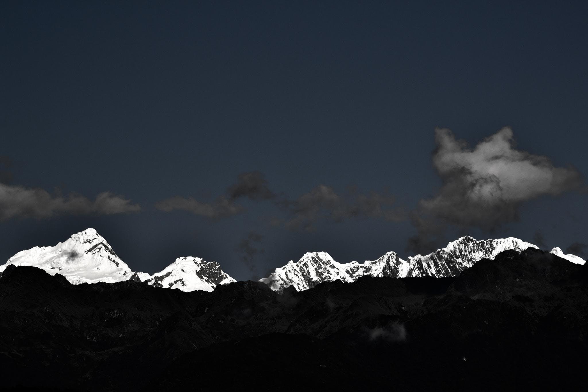 Free stock photo of grey sky, landscape, mountain, mountains