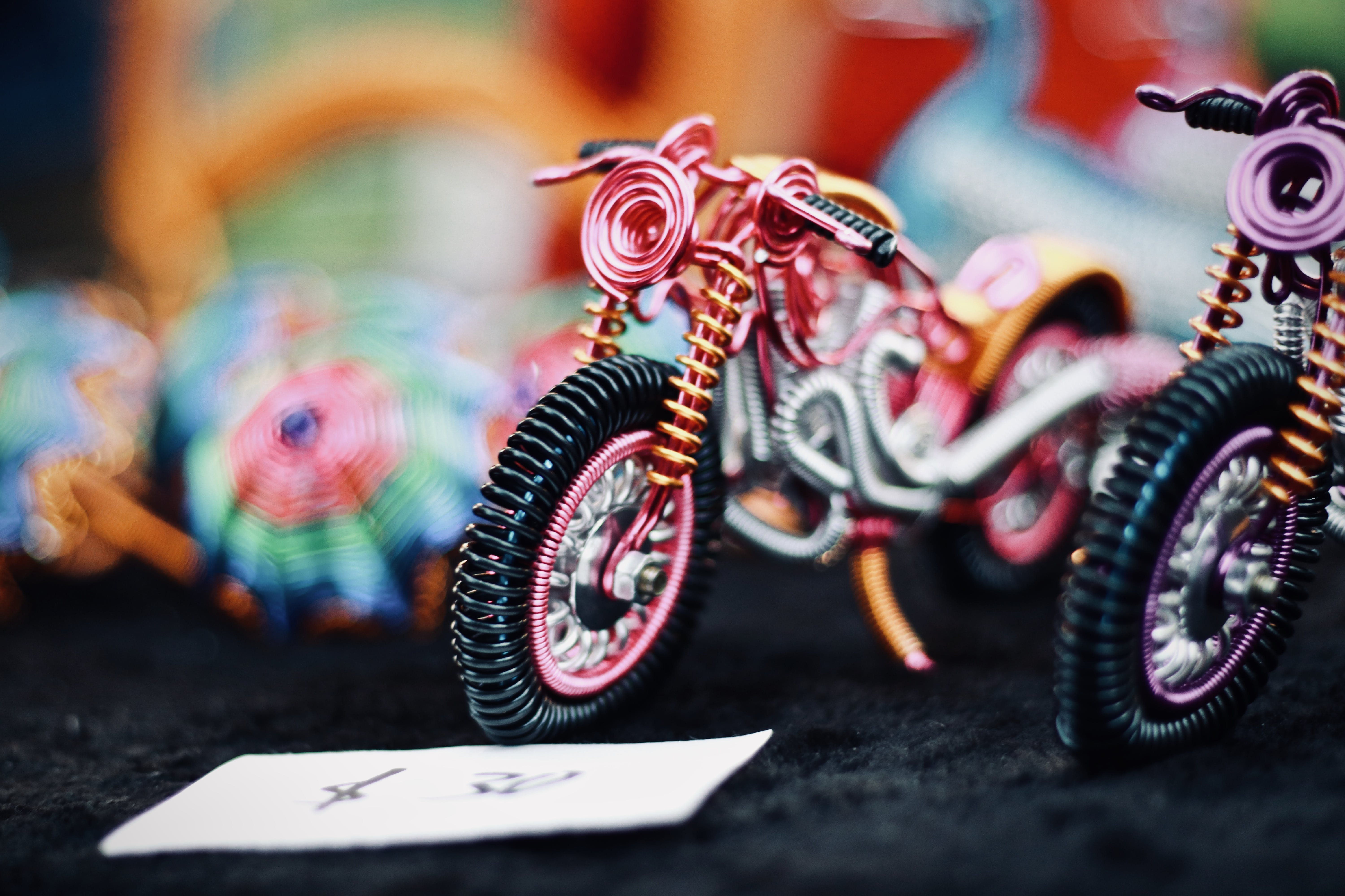 Tilt Shift Photography of Motorcycle Toy