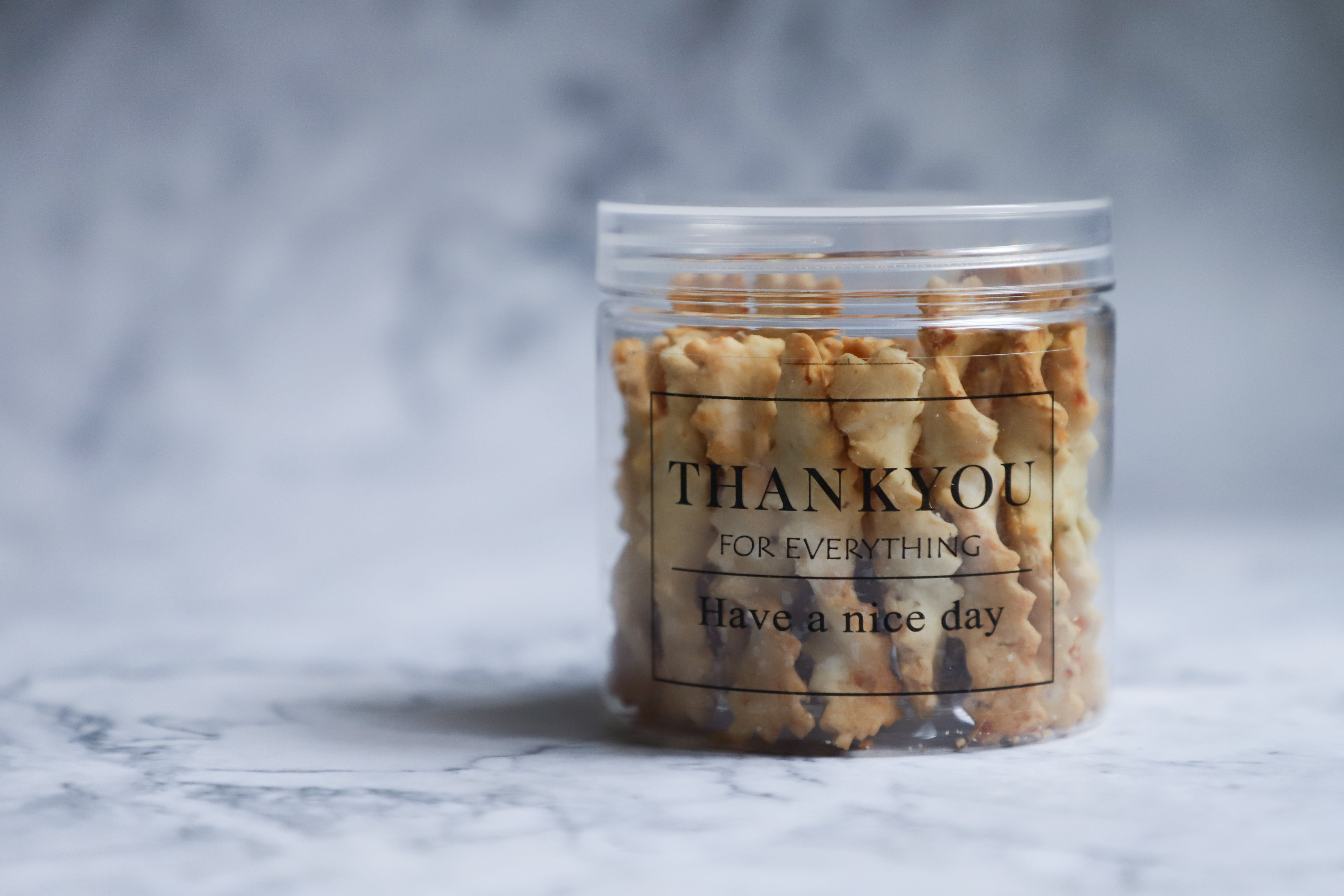 Clear Jar With Brown Pastry