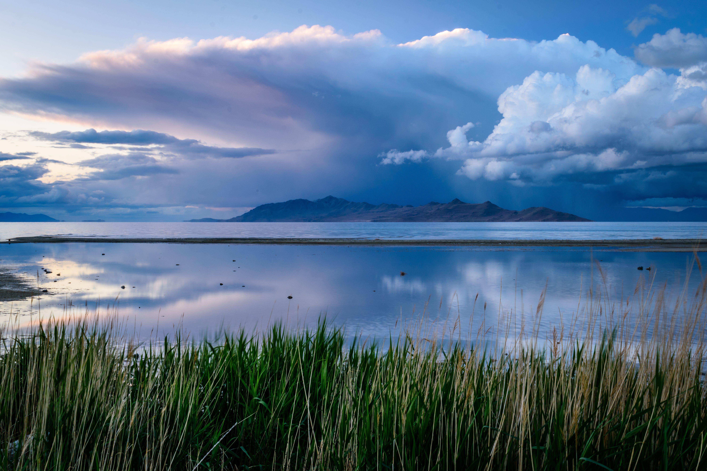 Ảnh lưu trữ miễn phí về cỏ, hồ muối lớn, những đám mây, núi