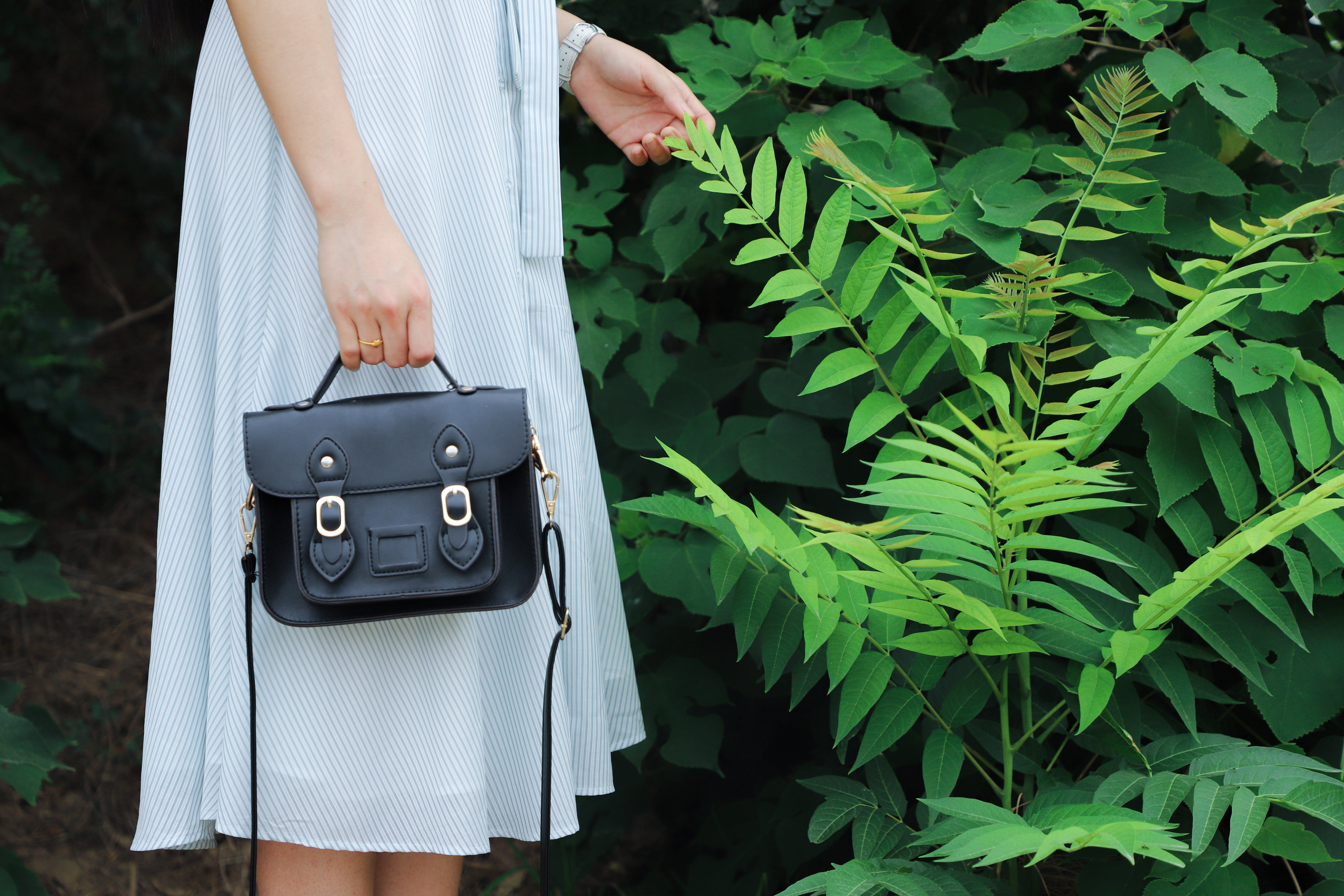Woman Holding Black Leather Bag And Standing Beside Green Plant