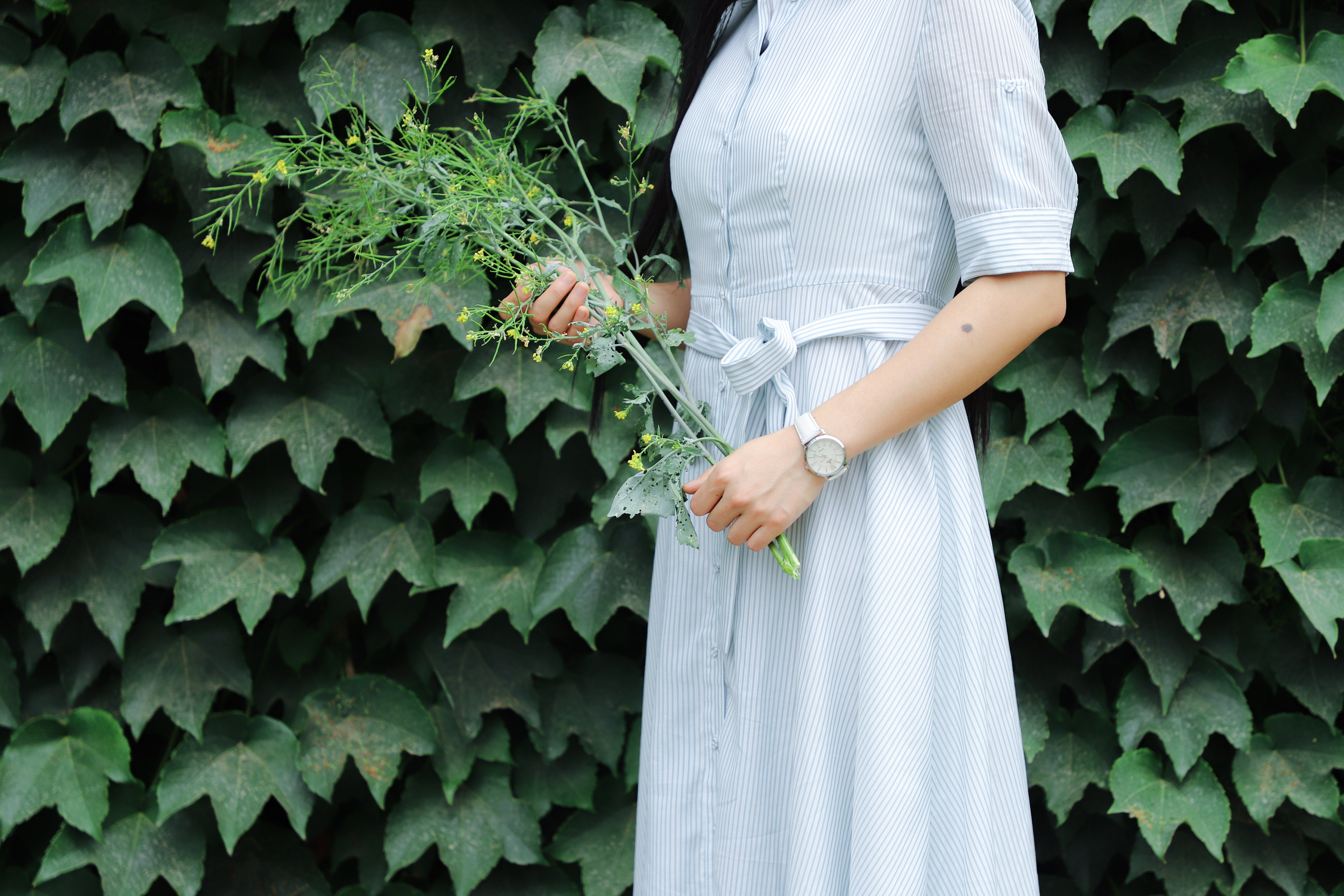 Woman Holding Flowers Near Green Leafed Plants