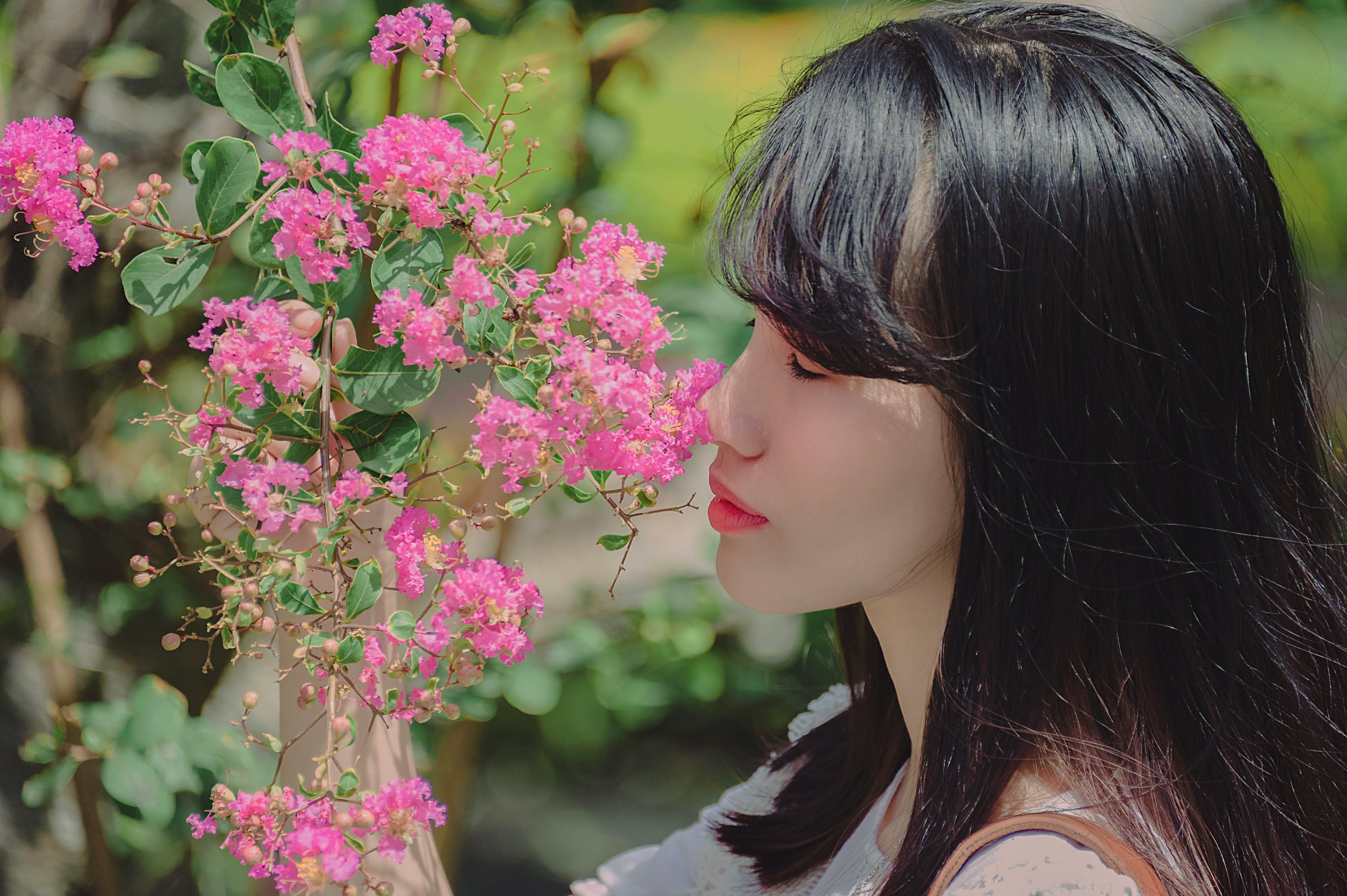 Woman Holding Pink Petal Flowers