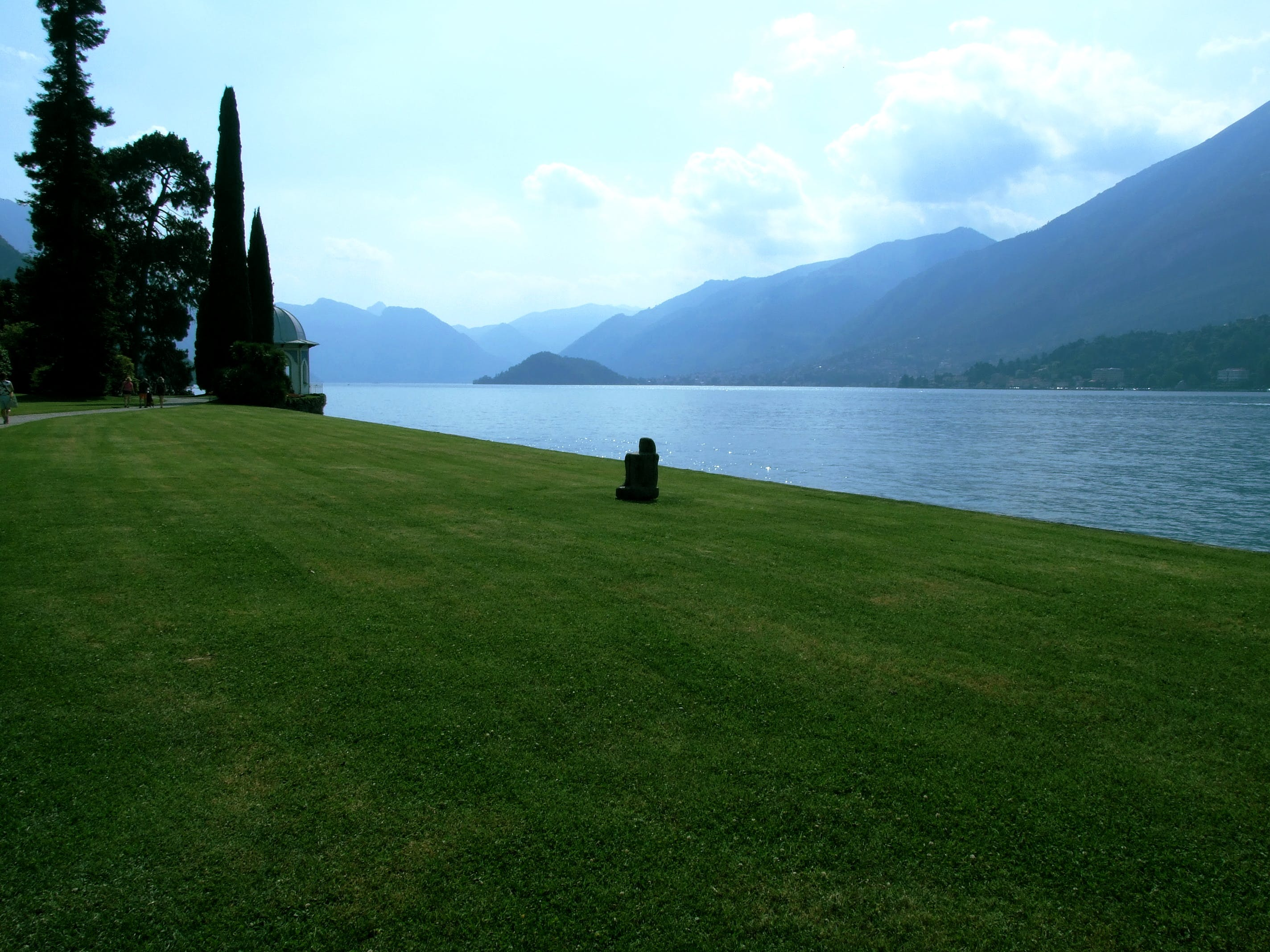 Free stock photo of grass, lake como, mountains, statue