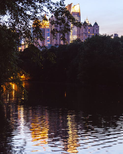 Free stock photo of architecture, body of water, buildings, pond