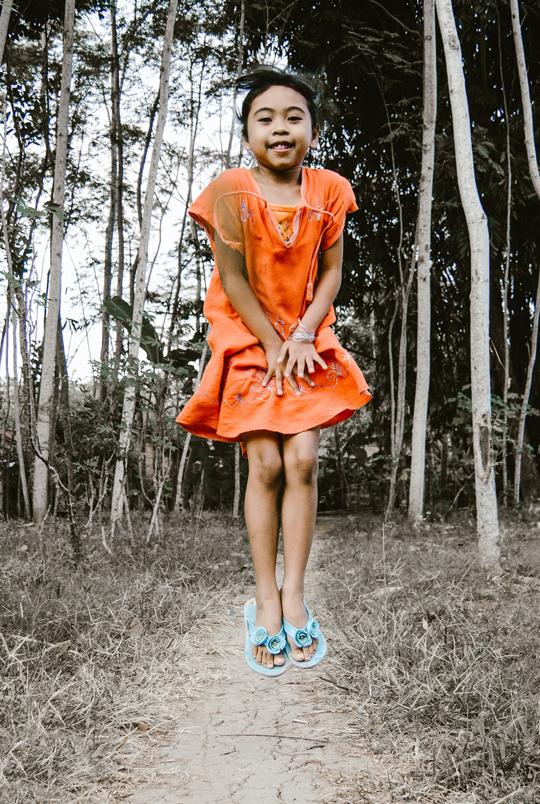 Free stock photo of jumping, little girl, #forest, foot path