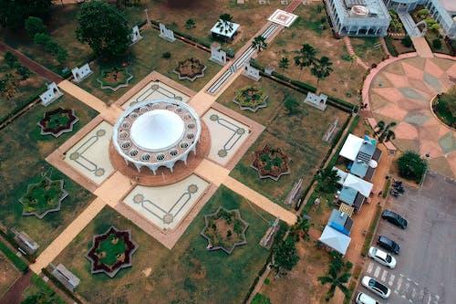 Aeriel View of Round Establishment Across Parking Lot