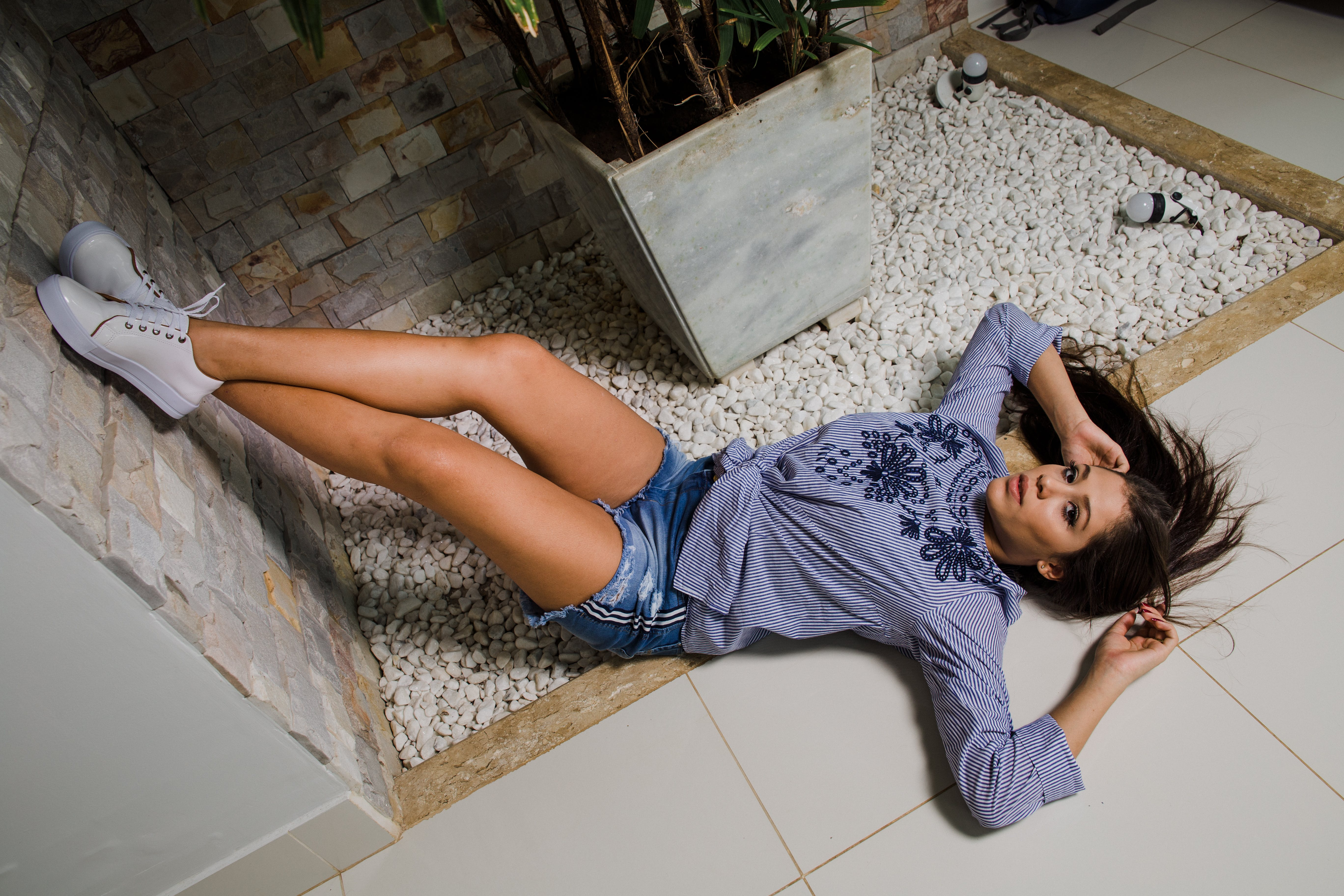Woman Laying on Floor Photography