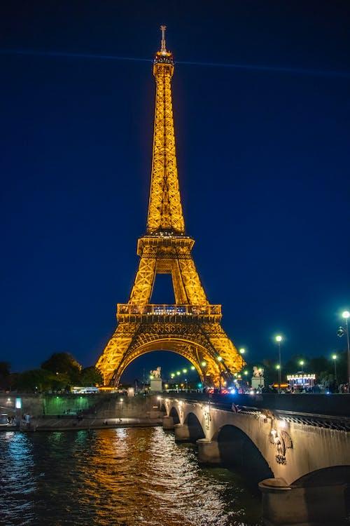 Free stock photo of eiffel tower, night, night city