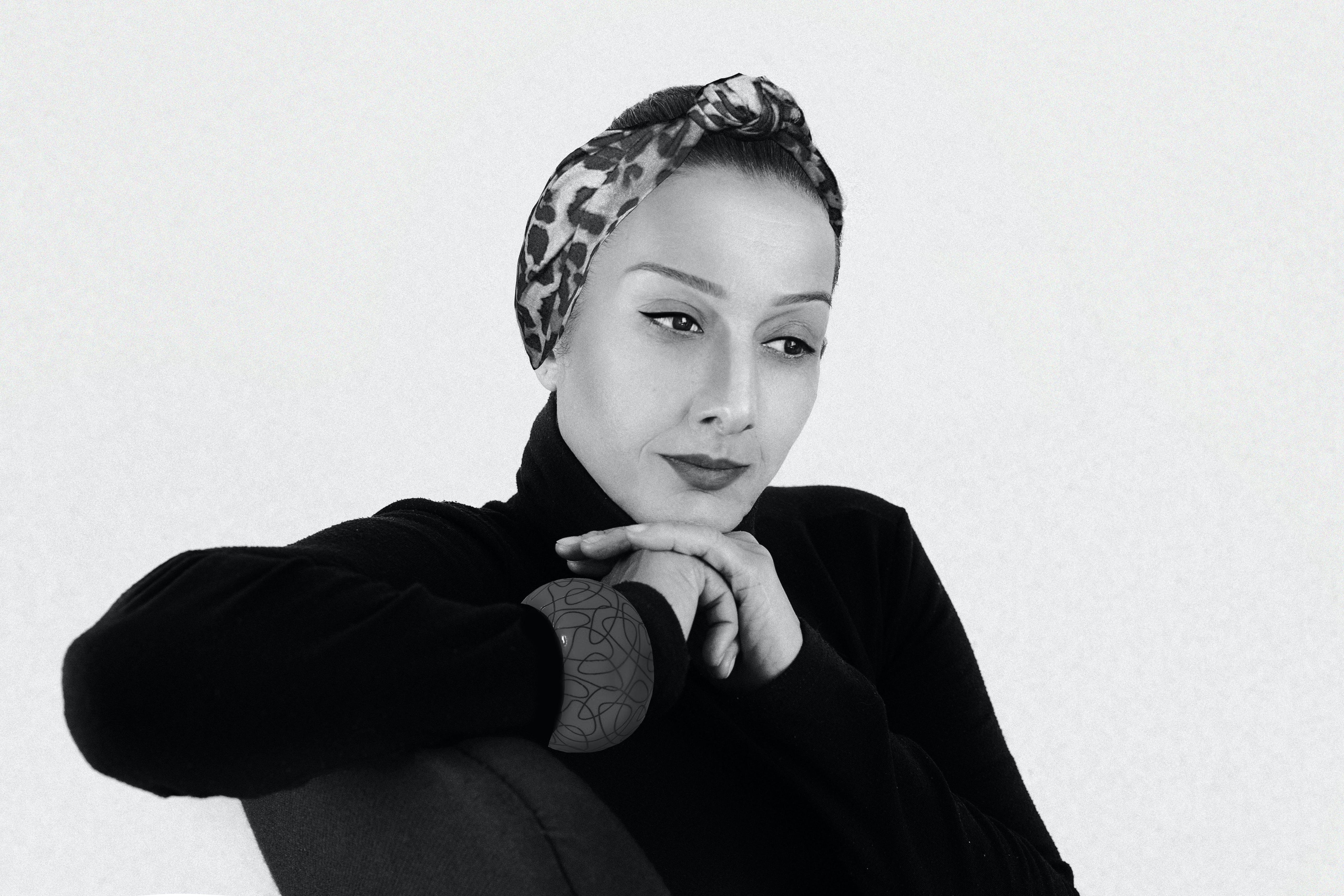 Grayscale Portrait of Woman