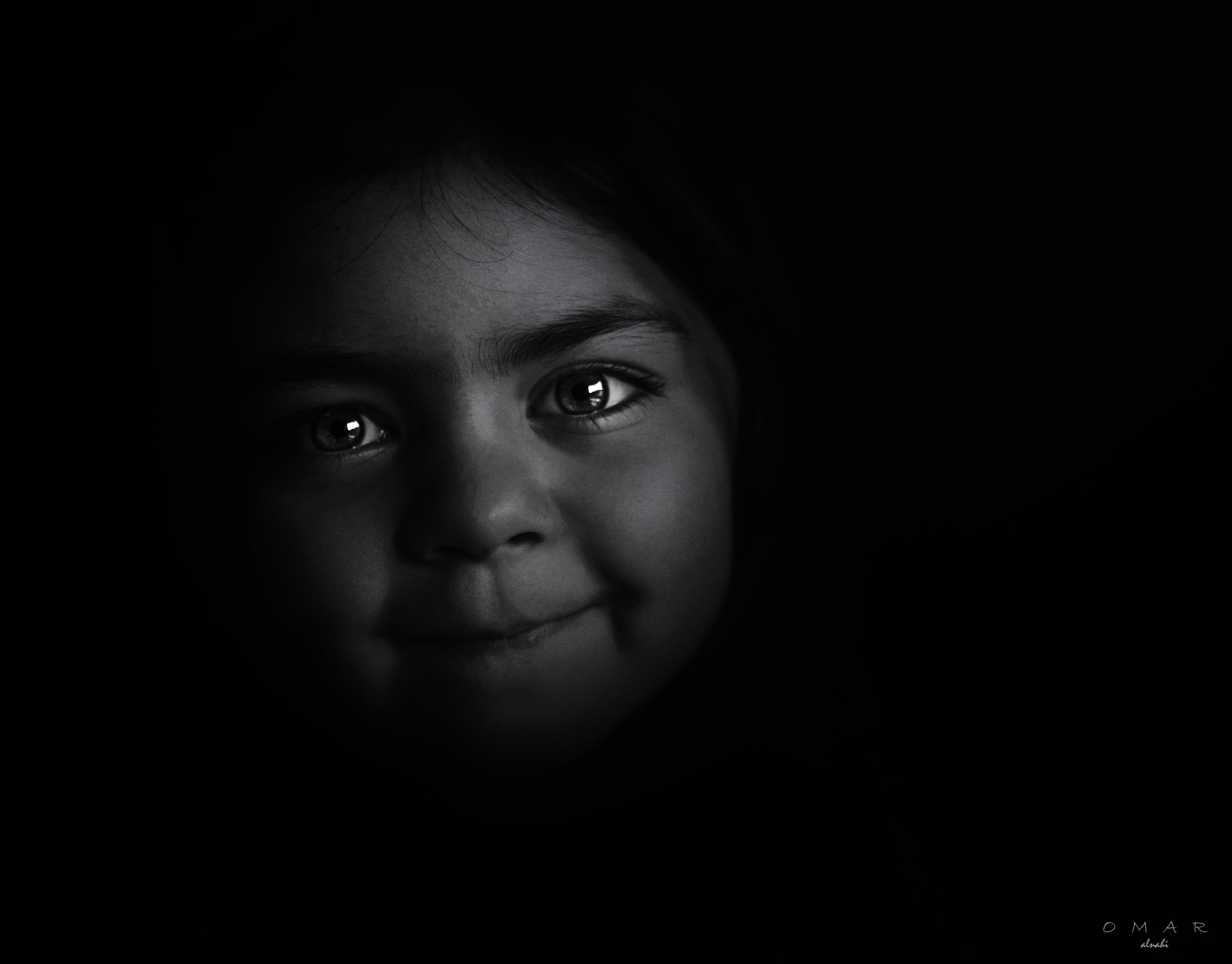 black-and-white, dark, eyes