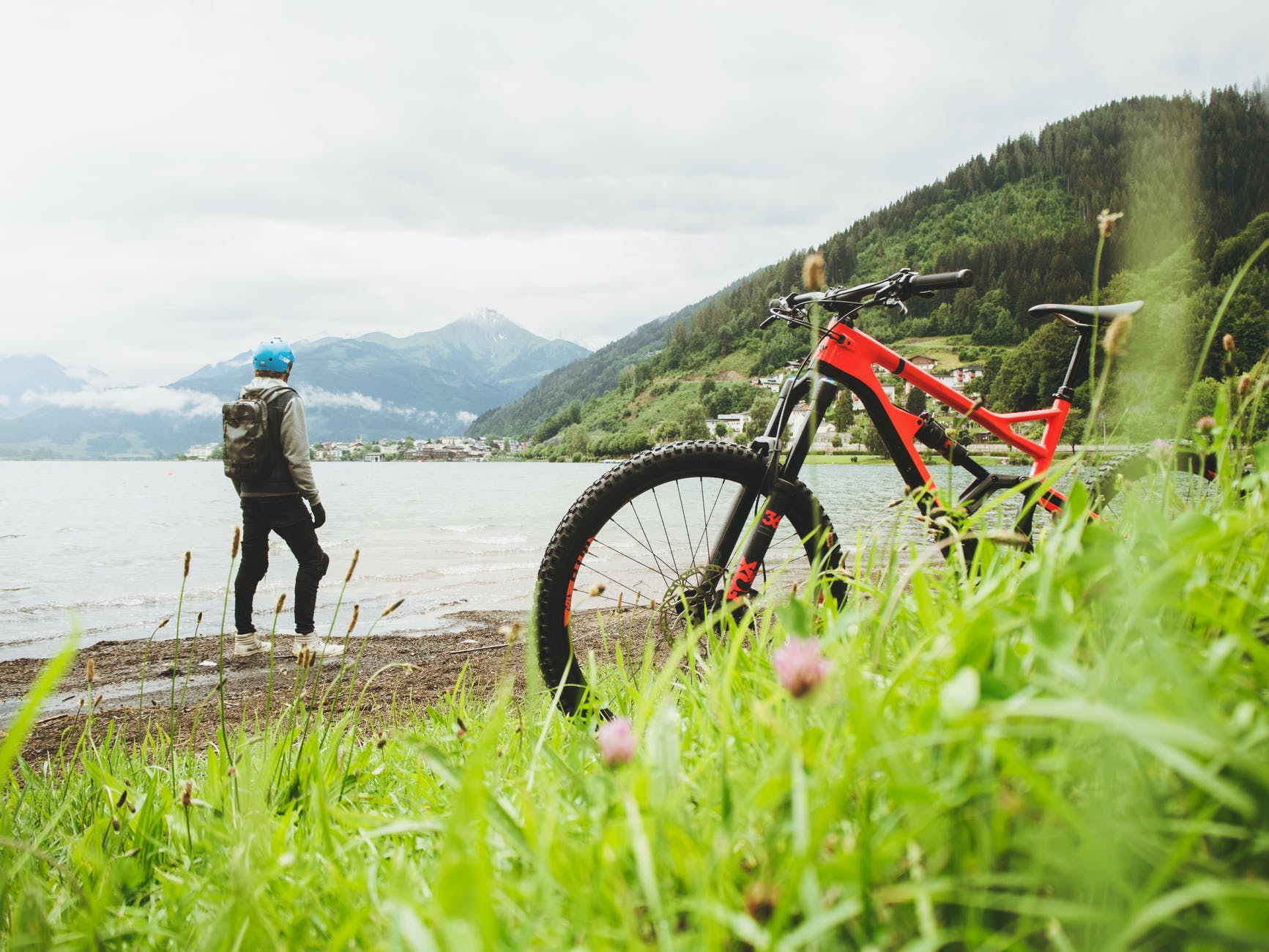 Man and bike near a body of water