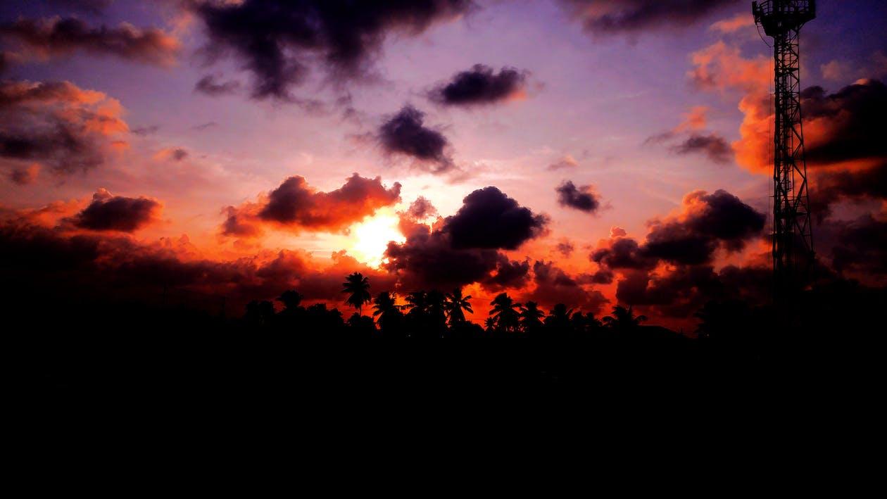červená obloha, krajina, terén