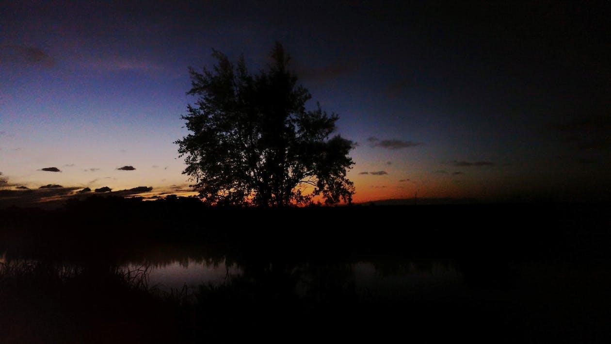 noc, zachód słońca