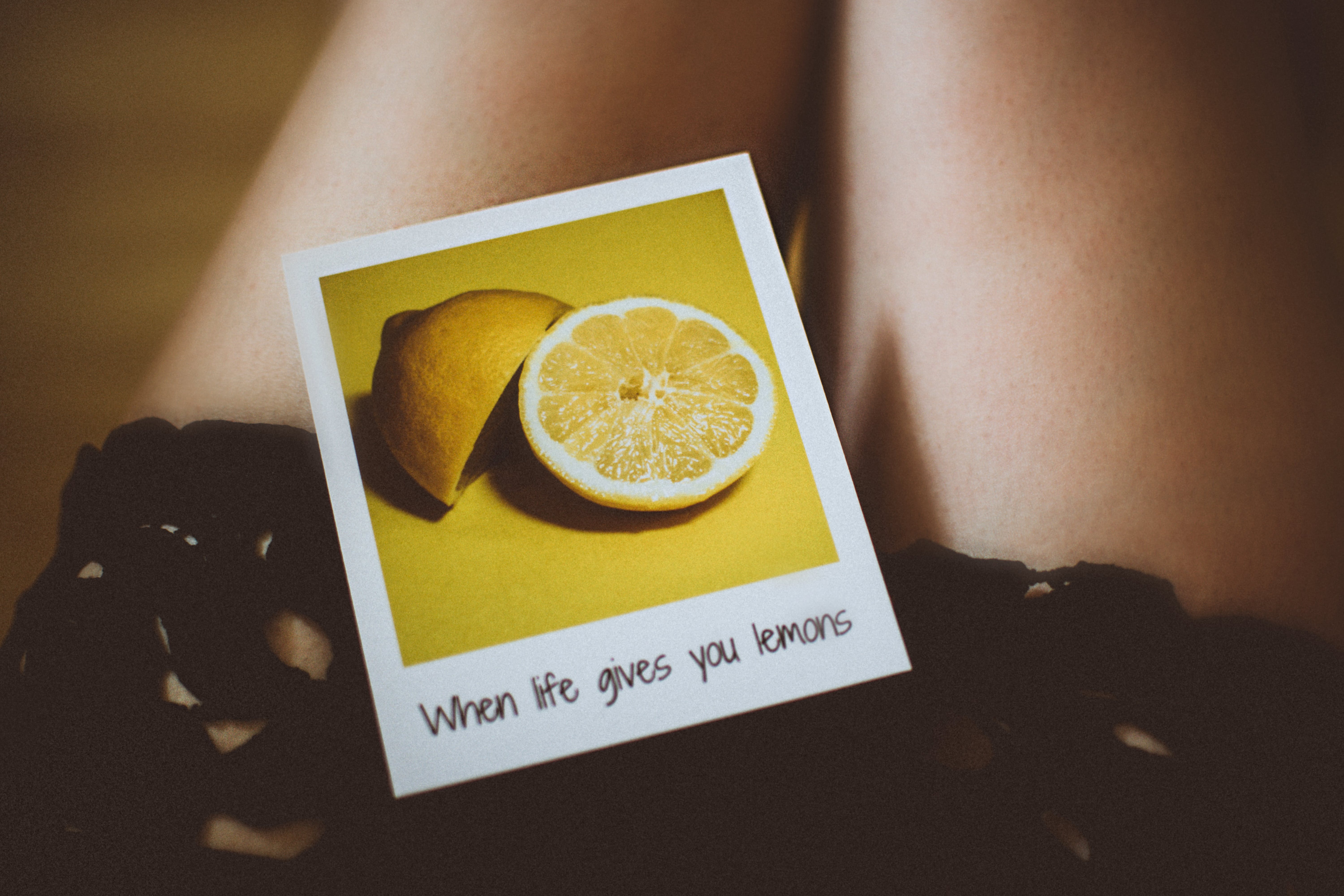 Lemon Photo on Person's Thigh
