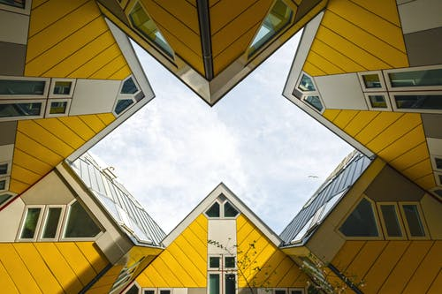 Low Angle of Yellow Houses