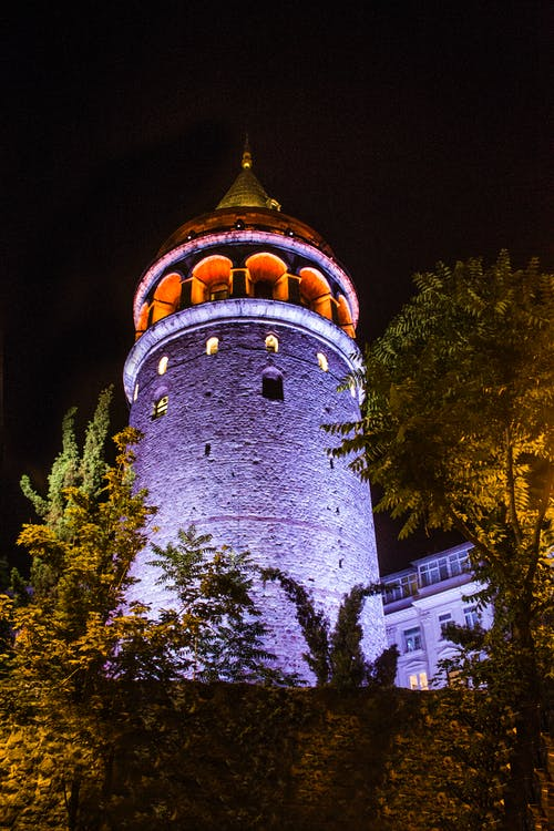 Low-angle of Galata Tower, Istanbul Turkey