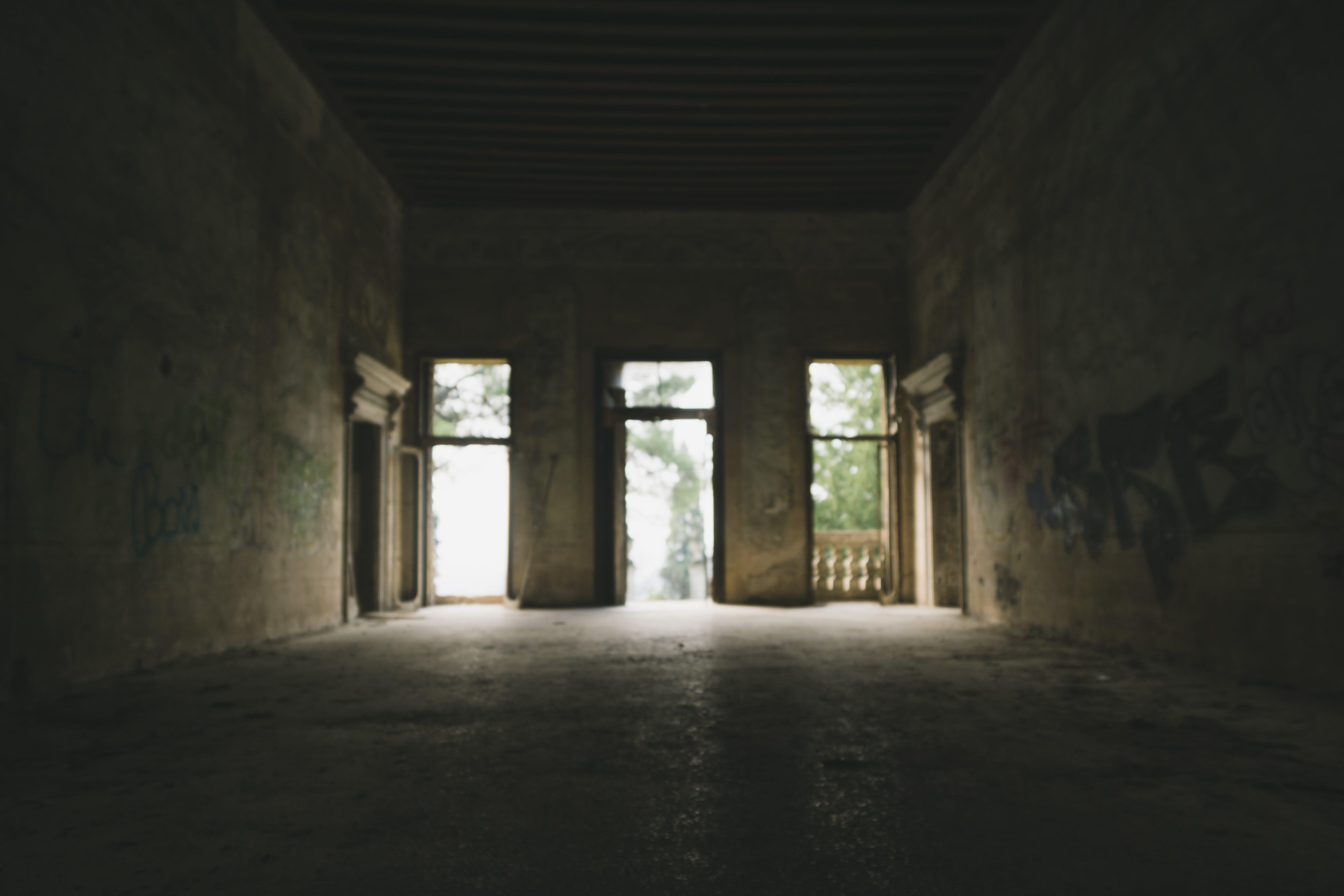 Základová fotografie zdarma na téma architektura, budova, chodba, graffiti