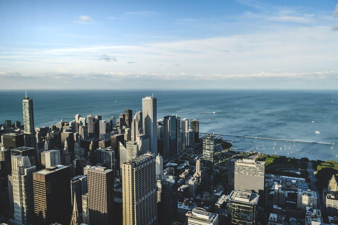 вид на город, город, городская жизнь