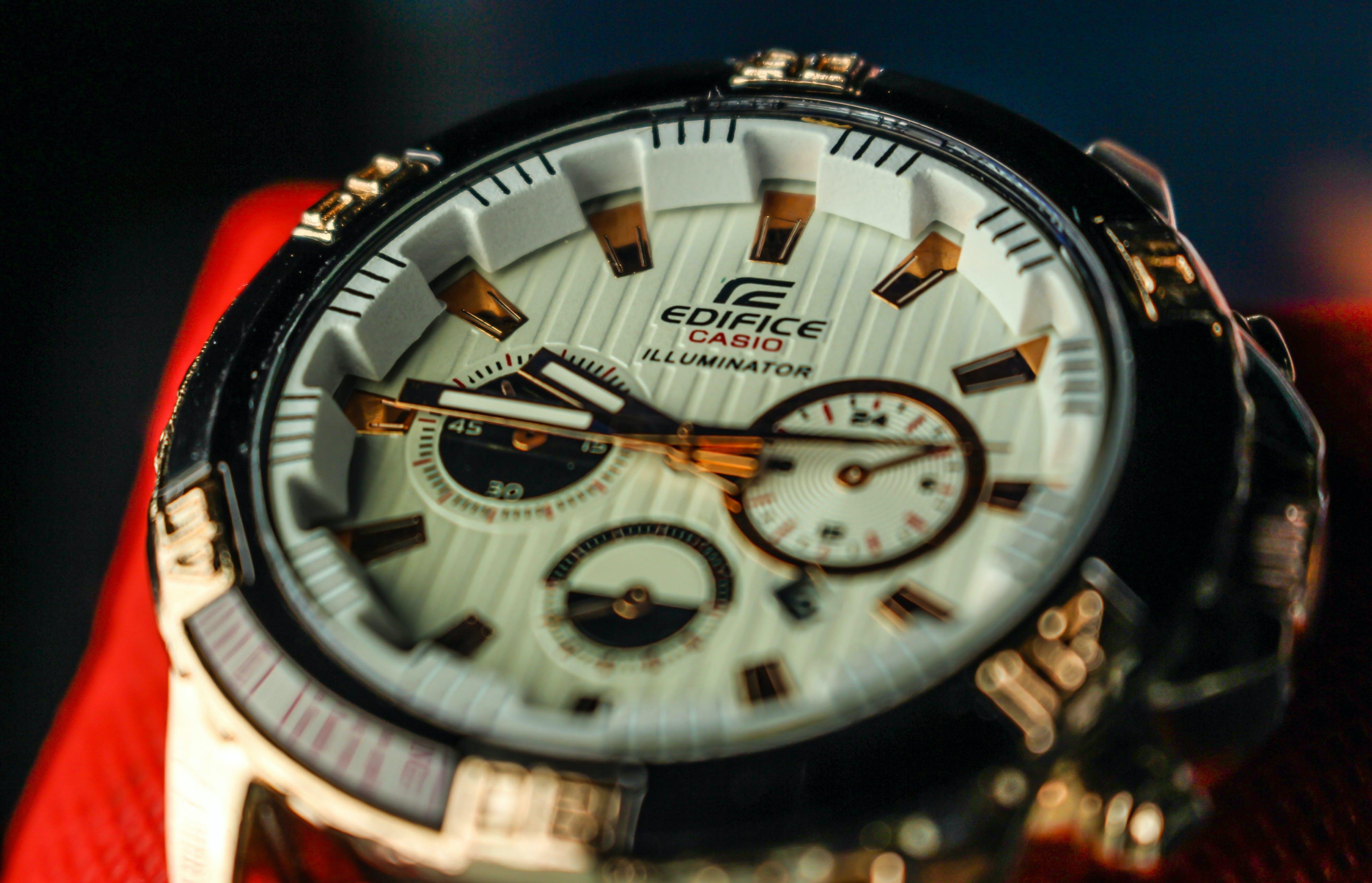Round White and Silver-colored Casio Edifice Chronograph Watch