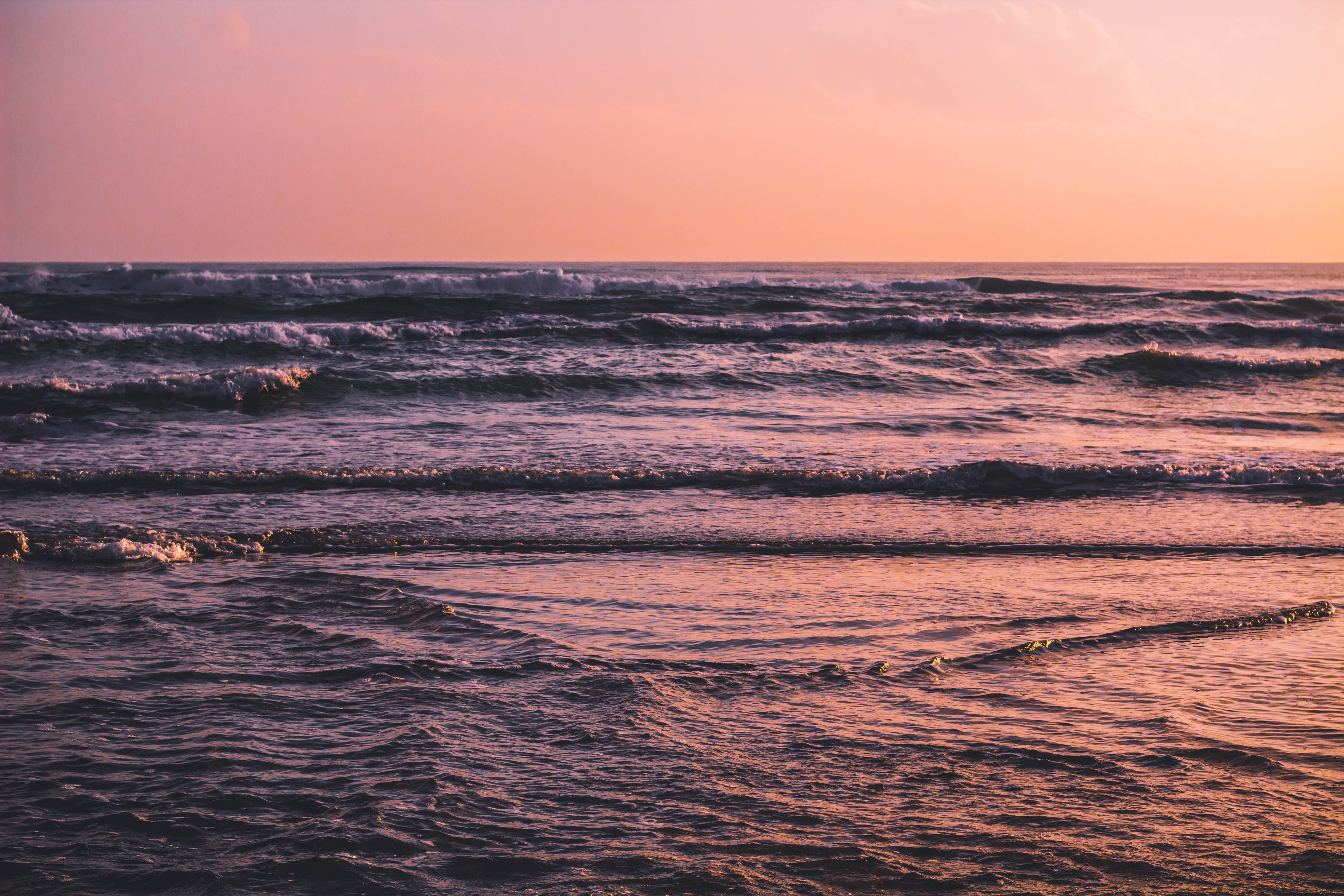 Waves Coming to Shore during Golden Hour