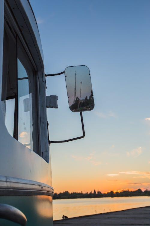 日落, 汽車, 鏡子