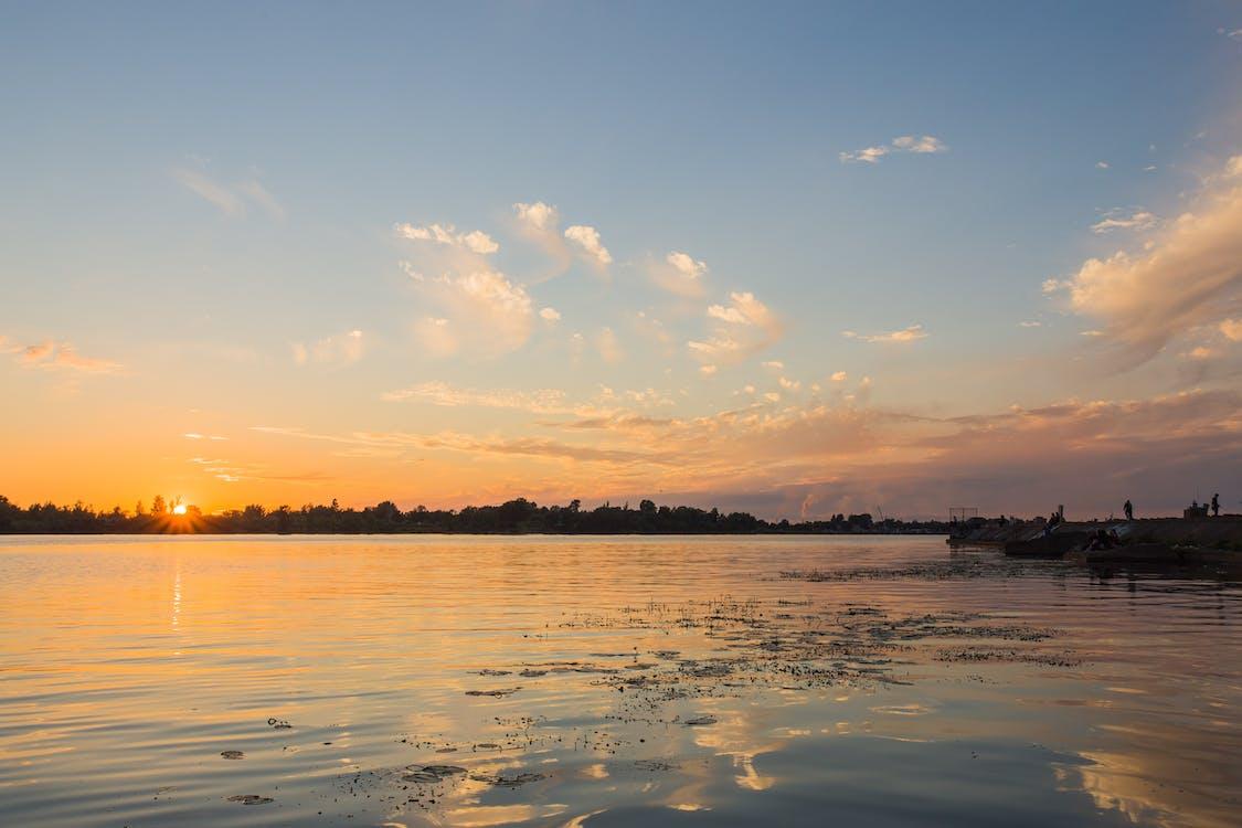 kikötő, naplemente, napnyugta