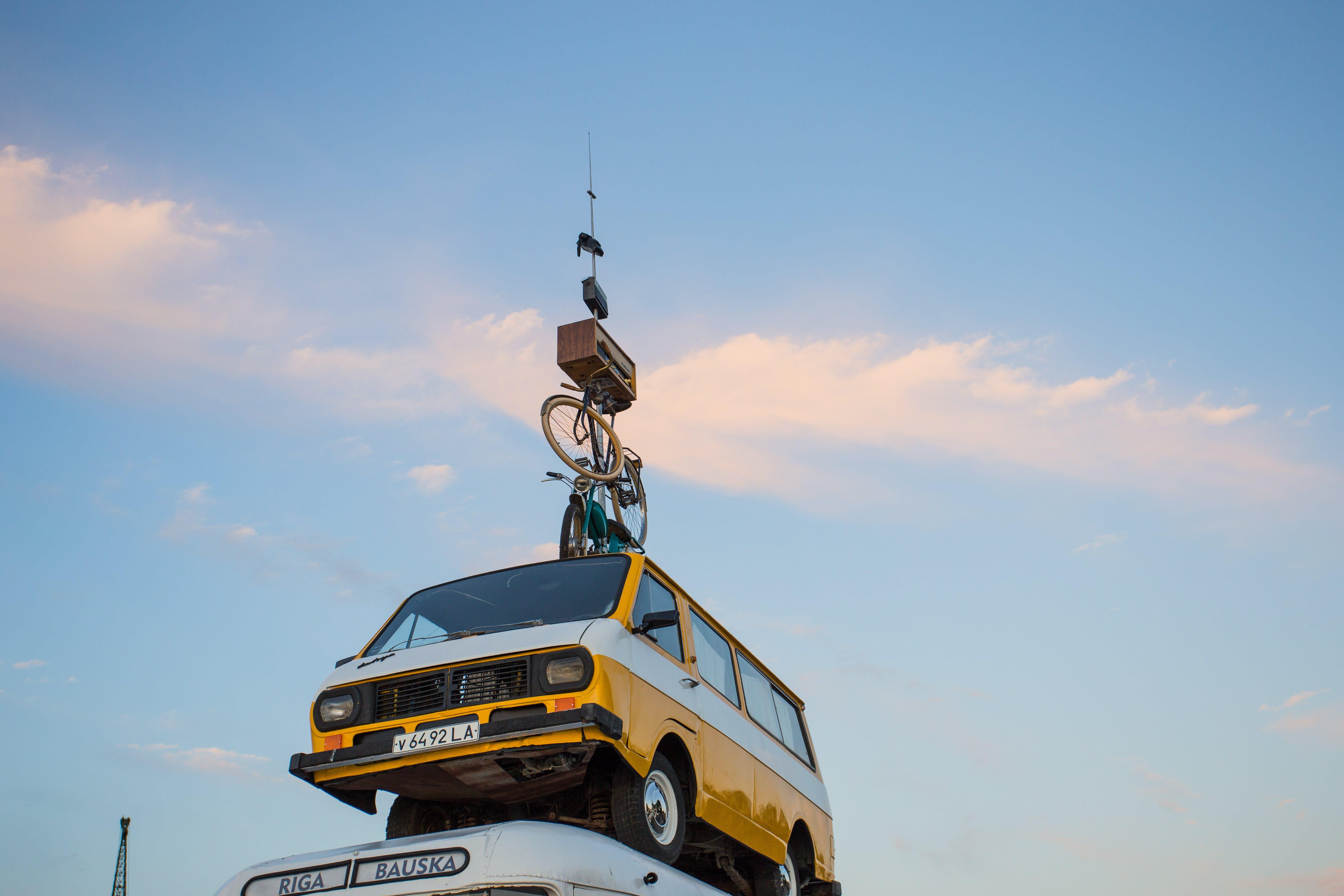Free stock photo of sunset, car, bus, bike