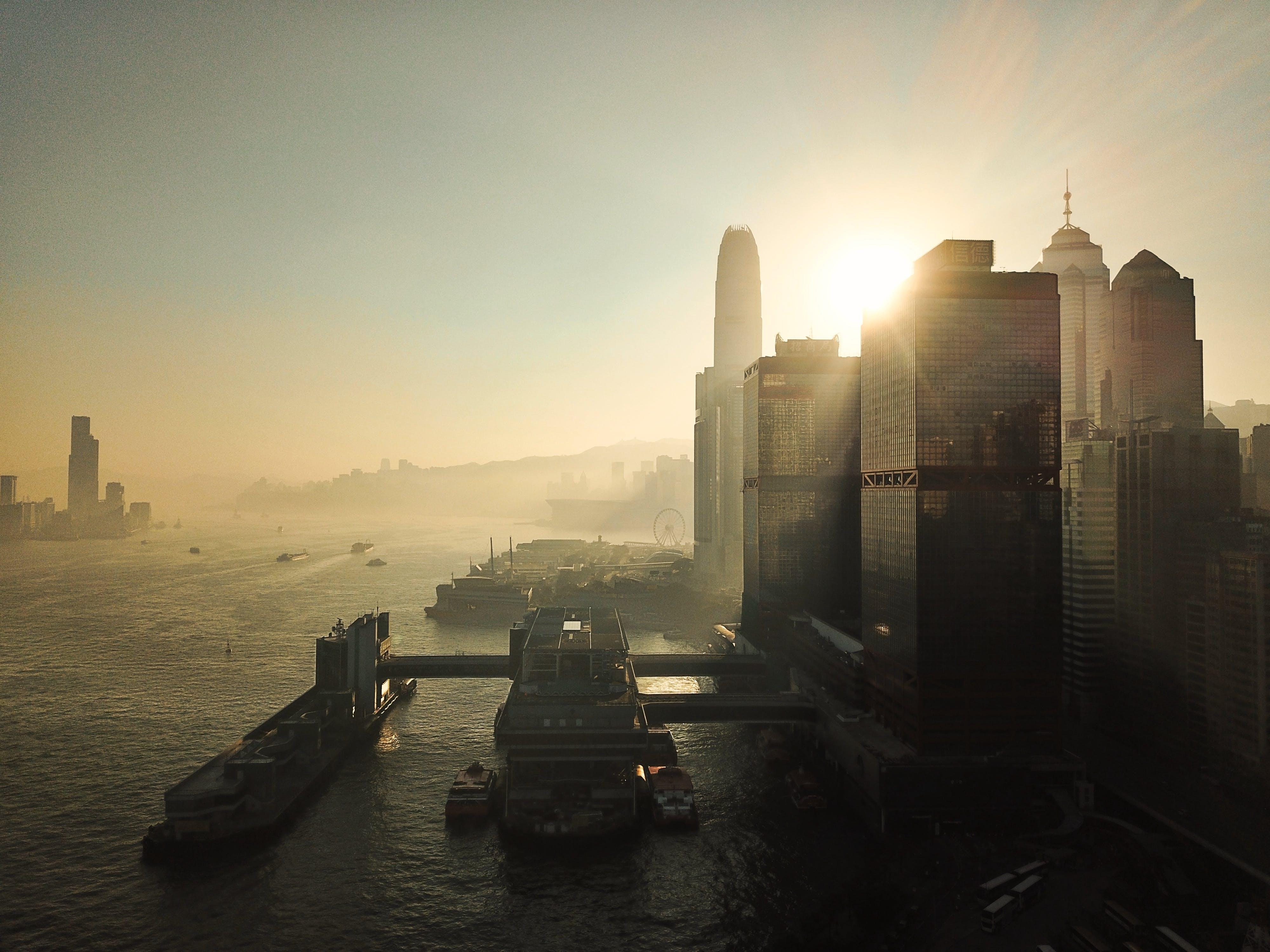 Free stock photo of city, skyscrapers, morning sun, hong kong
