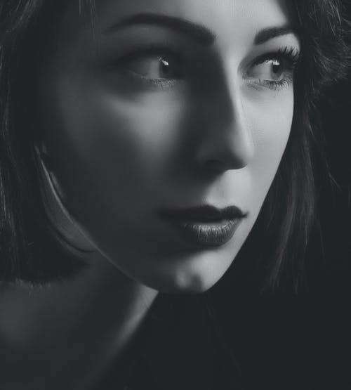Grayscale Portrait Of Woman